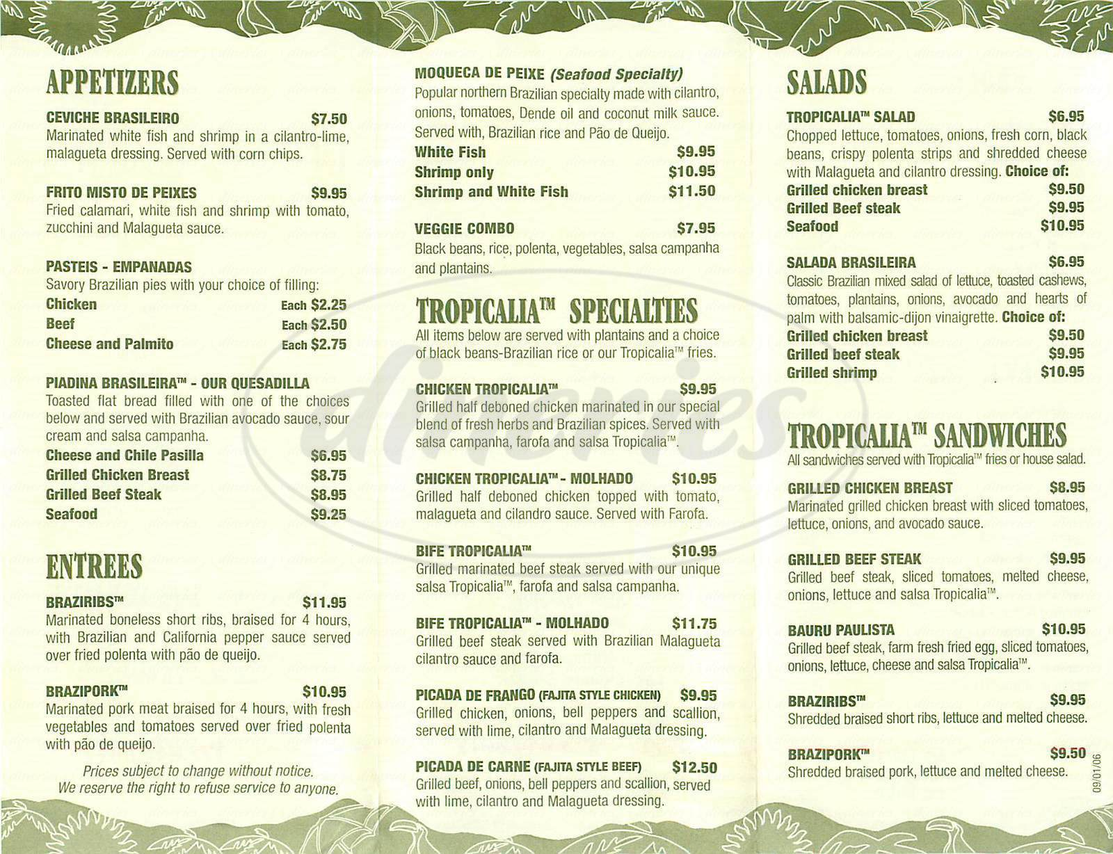 menu for Tropicalia