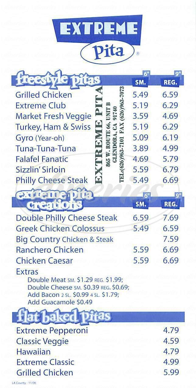 menu for Extreme Pita