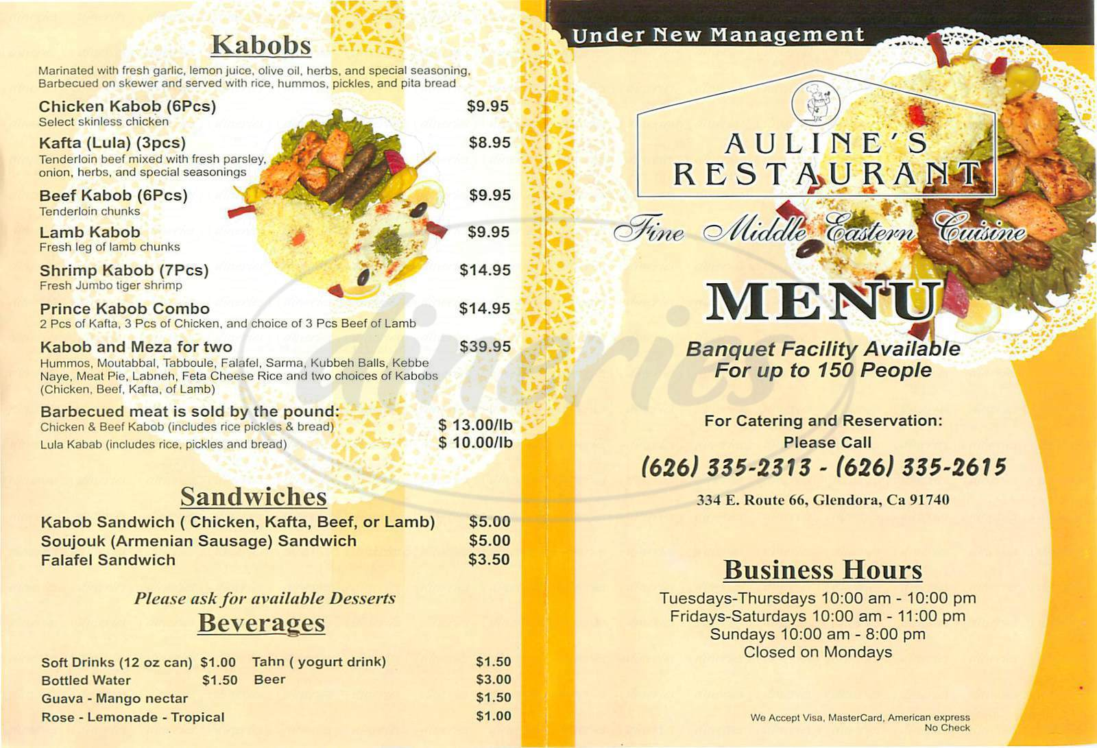 menu for Auline's Restaurant