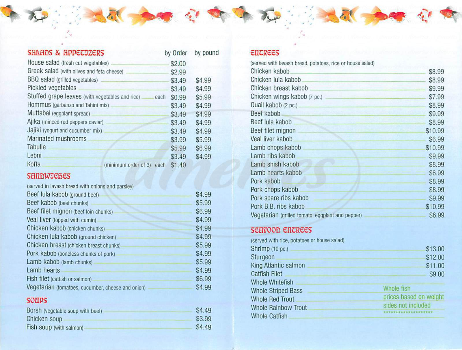 menu for Golden Fish