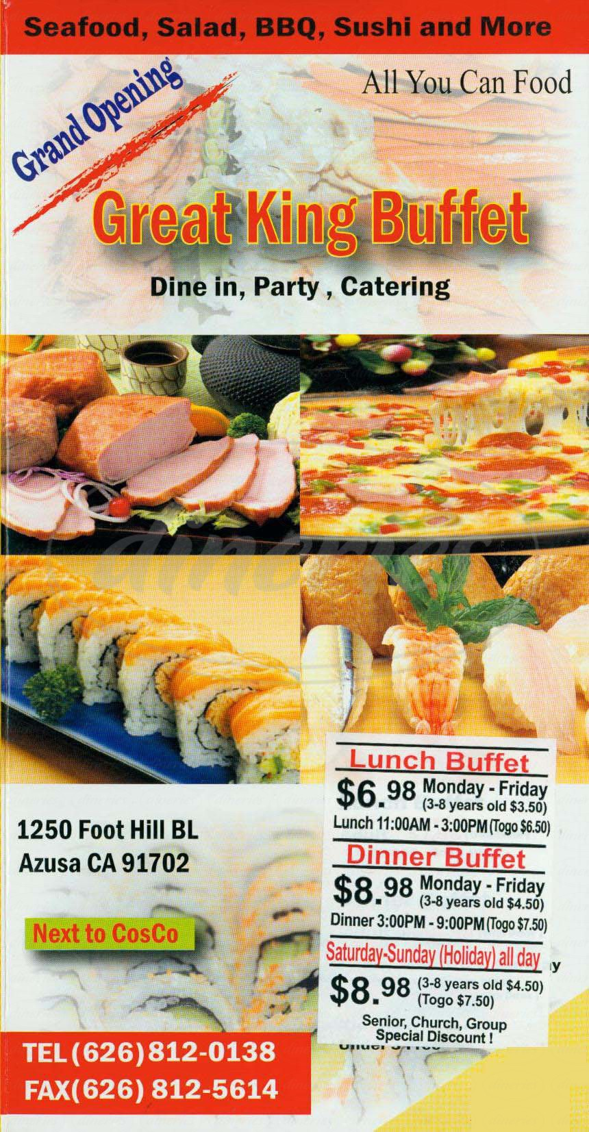 menu for Great King Buffet