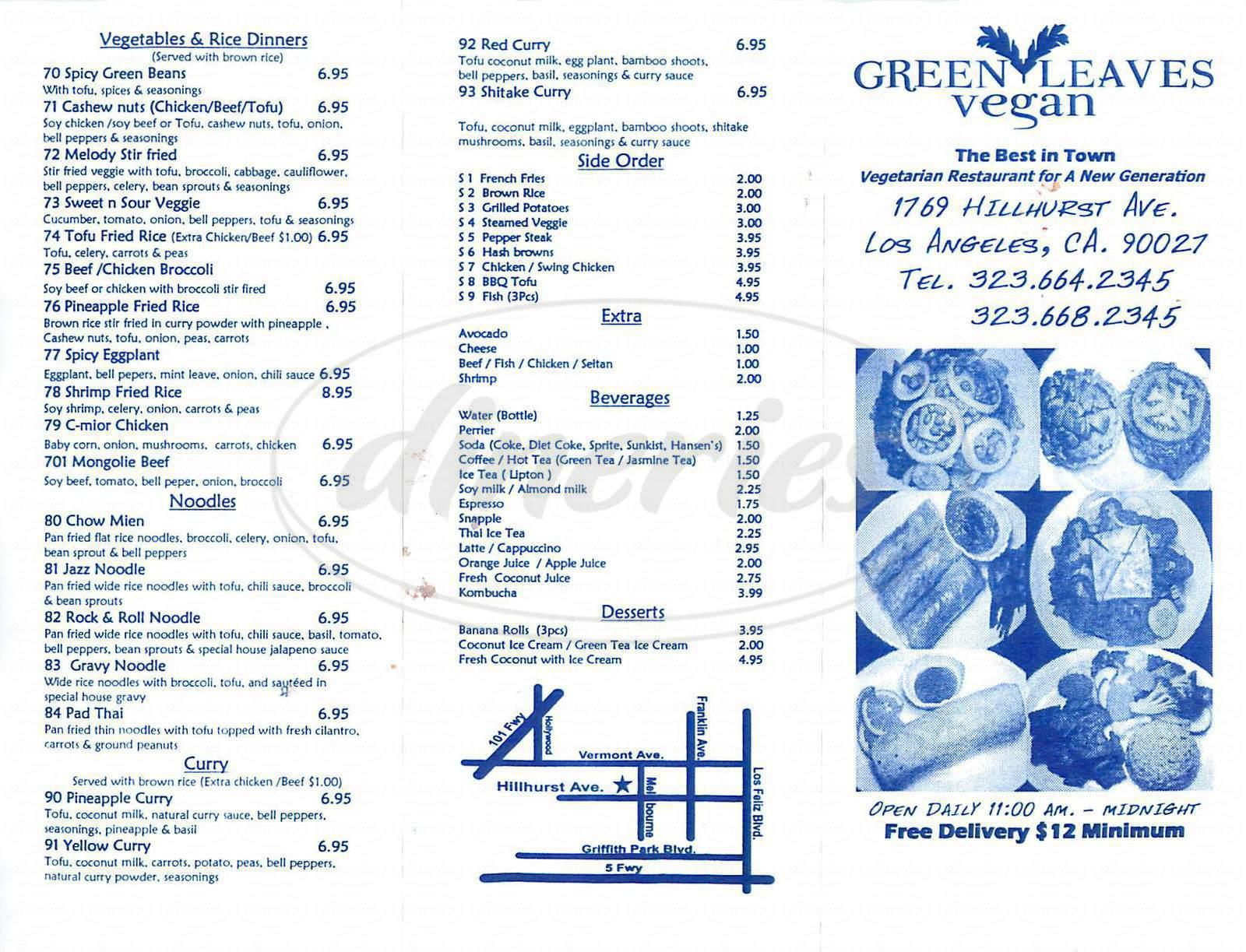 menu for Green Leaves Vegan