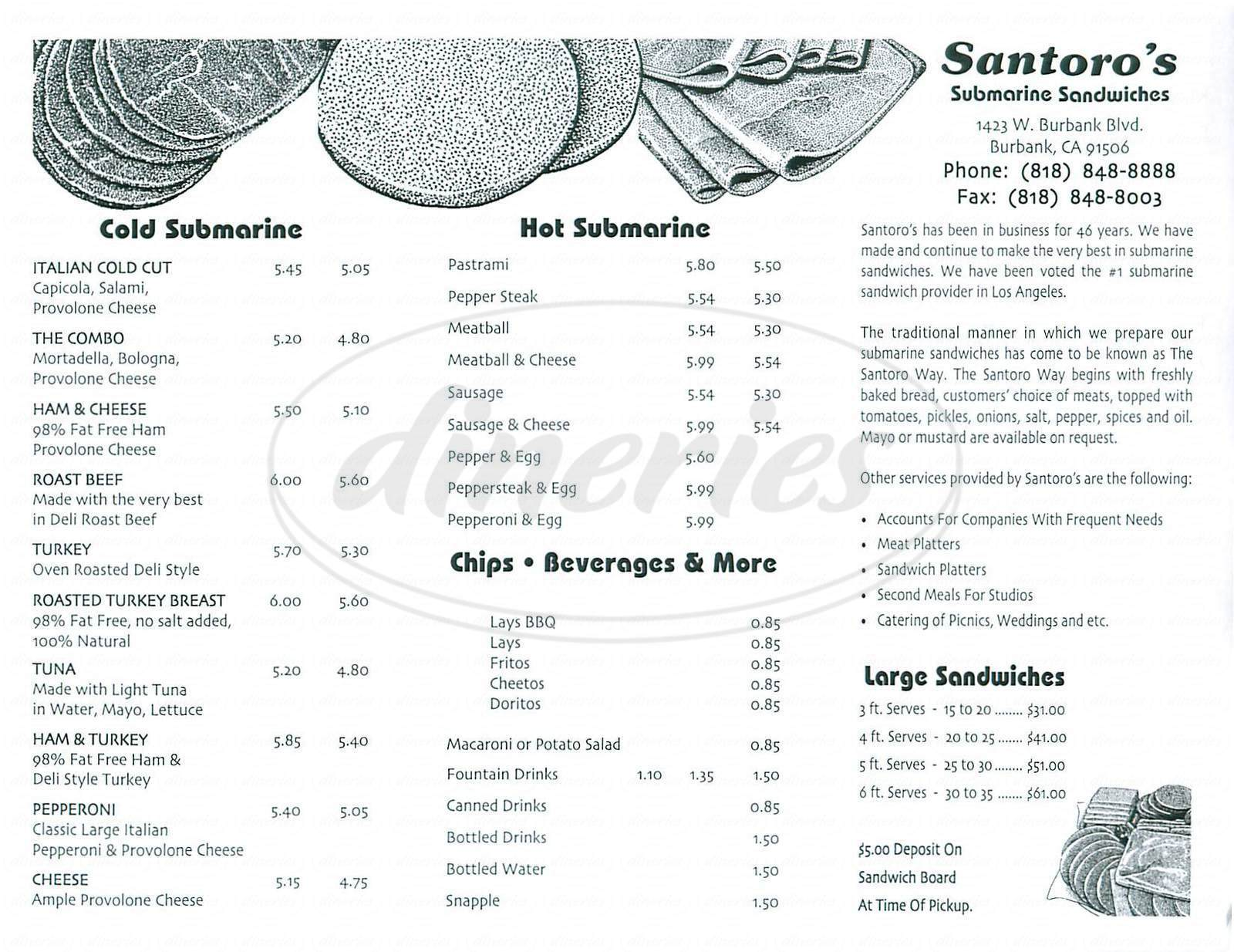 menu for Santoro's Subs
