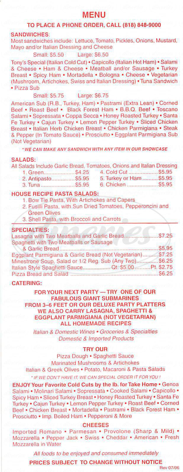 menu for Tony's Italian Deli