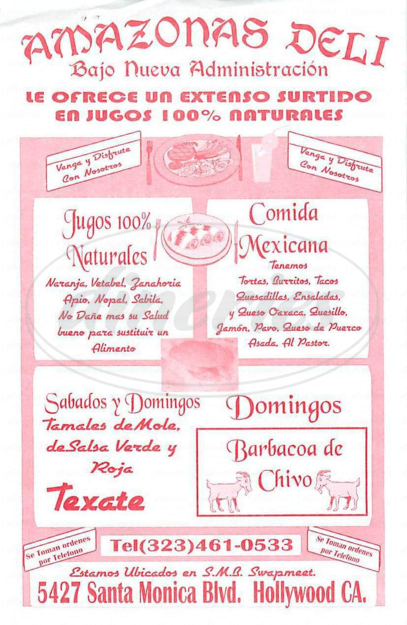 menu for Amazonas Deli