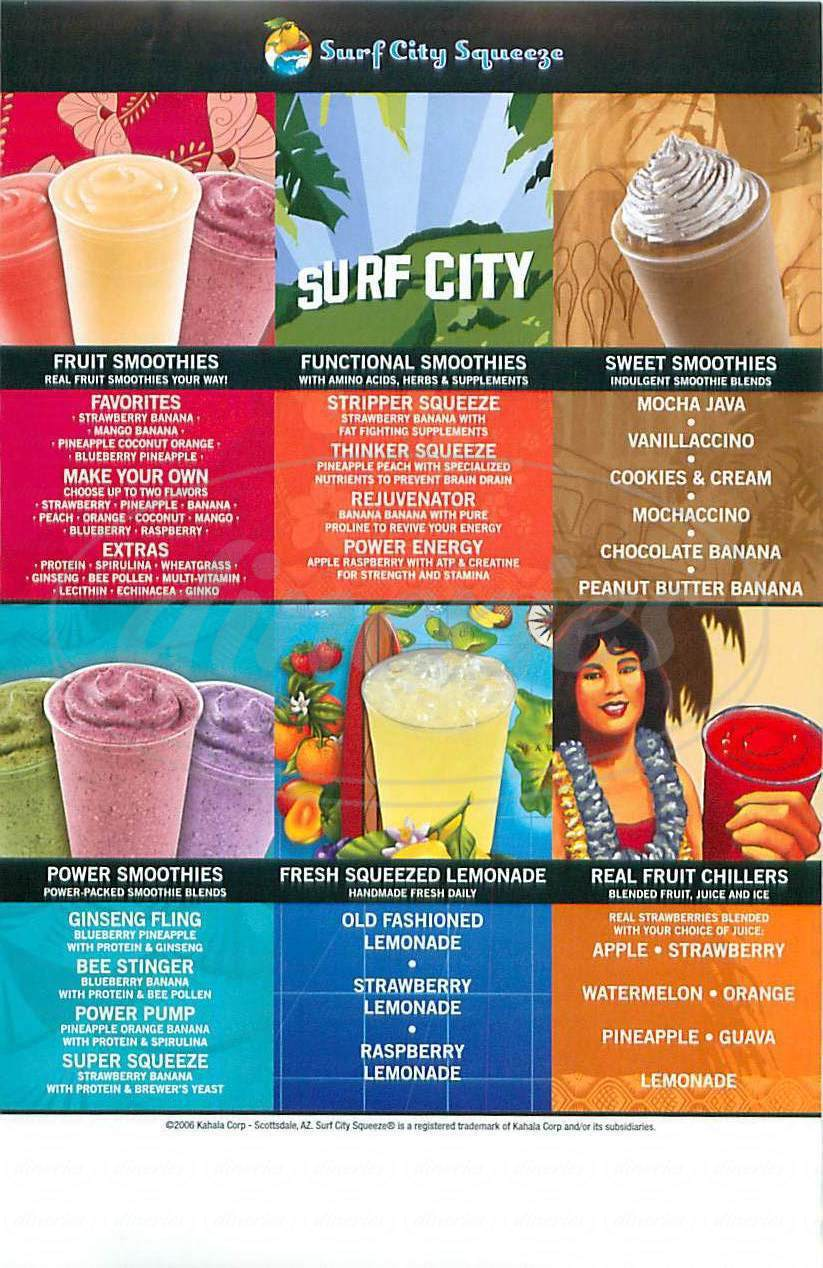 menu for Surf City Squeeze