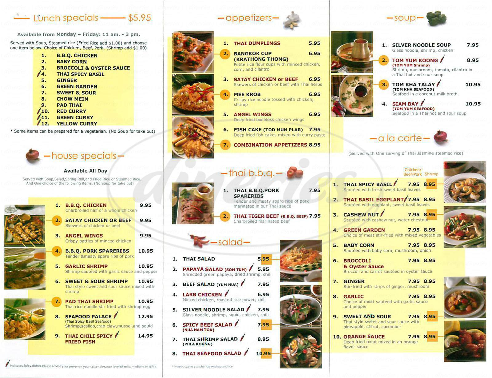 menu for Thai Chili