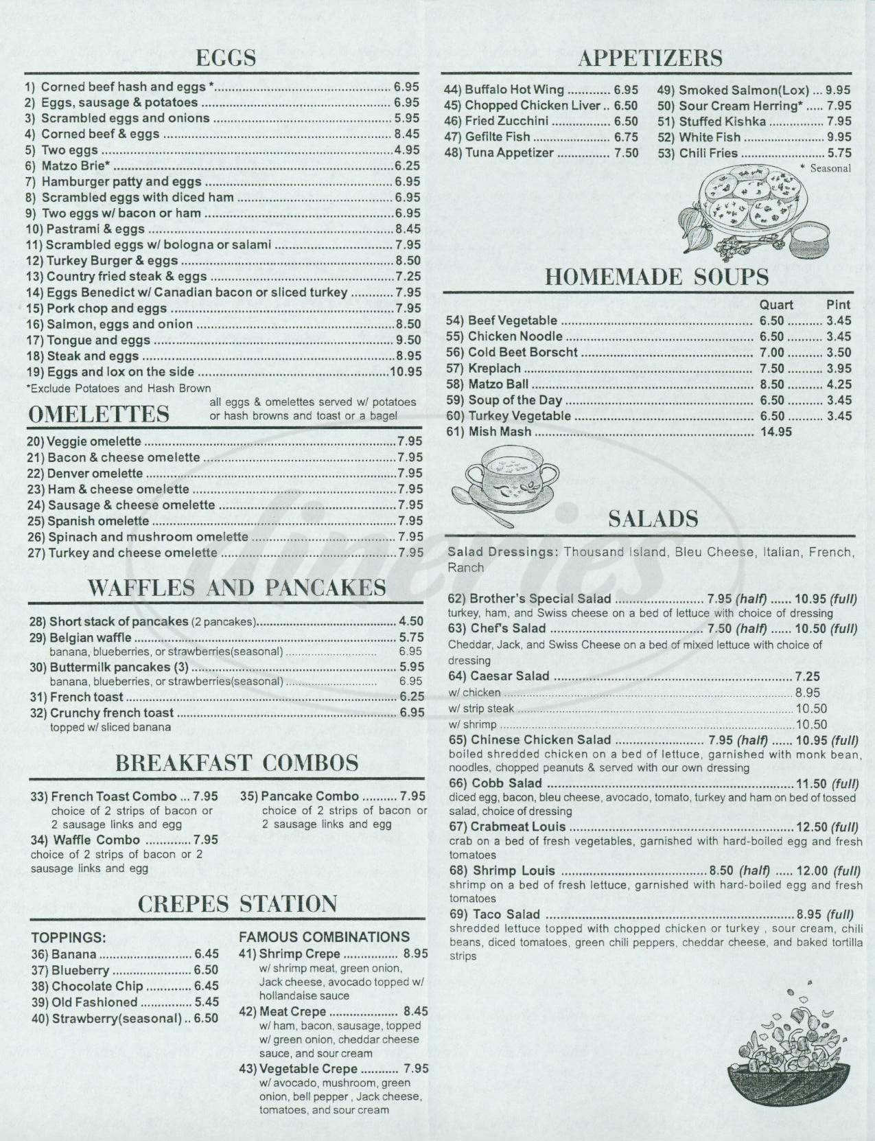menu for Brother's Manhattan Deli