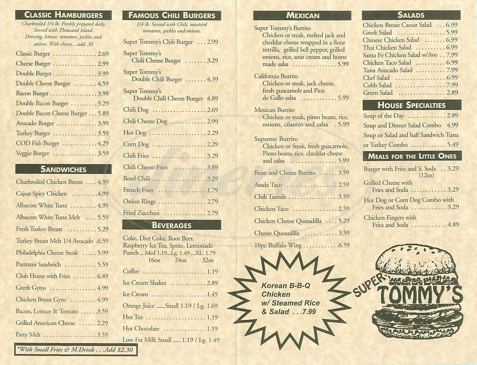 menu for Super Tommy's Famous Hamburgers