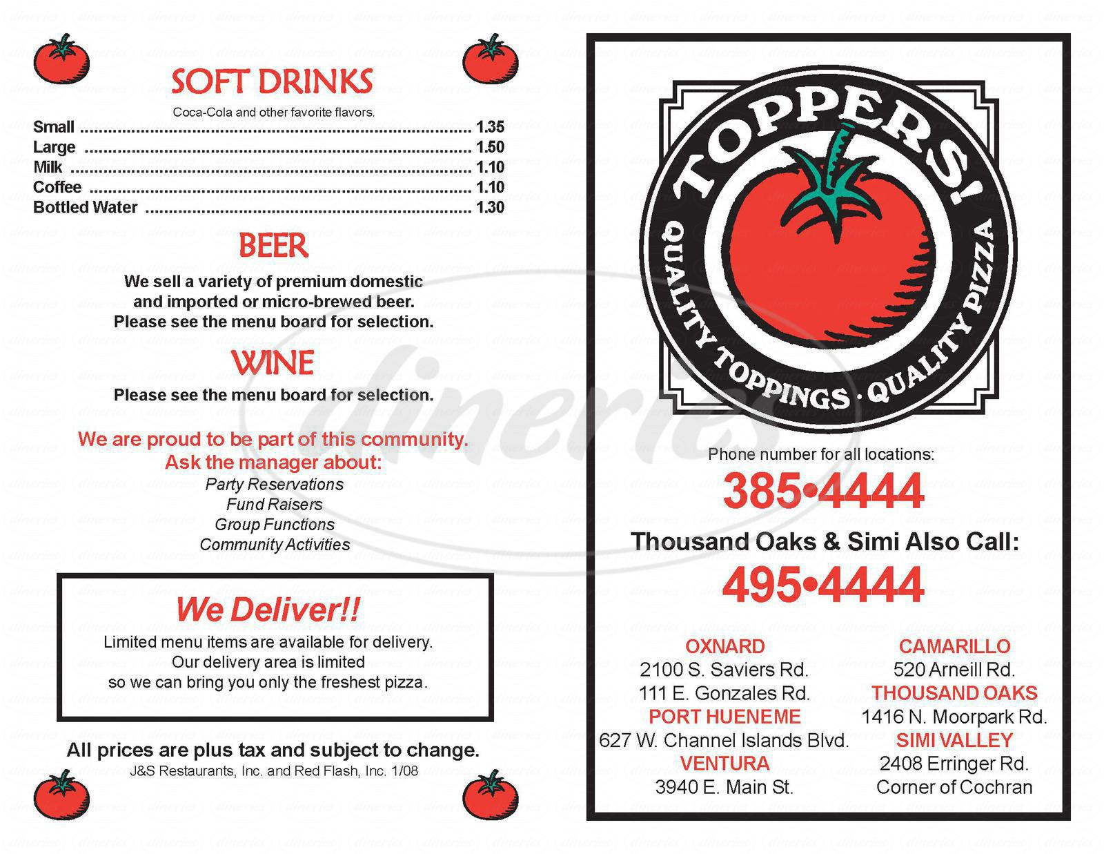 menu for Toppers Pizza Place