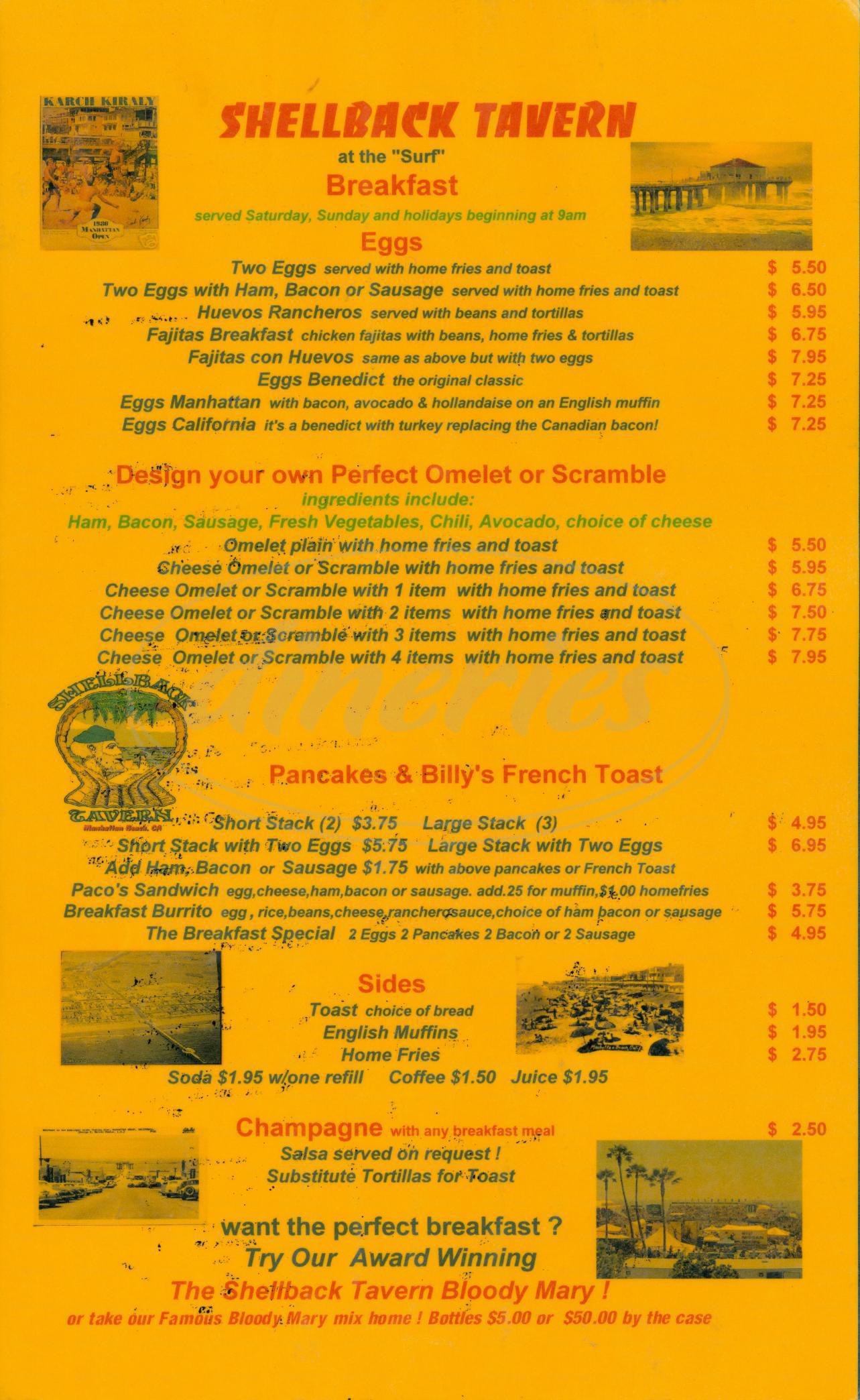 menu for Shellback Tavern