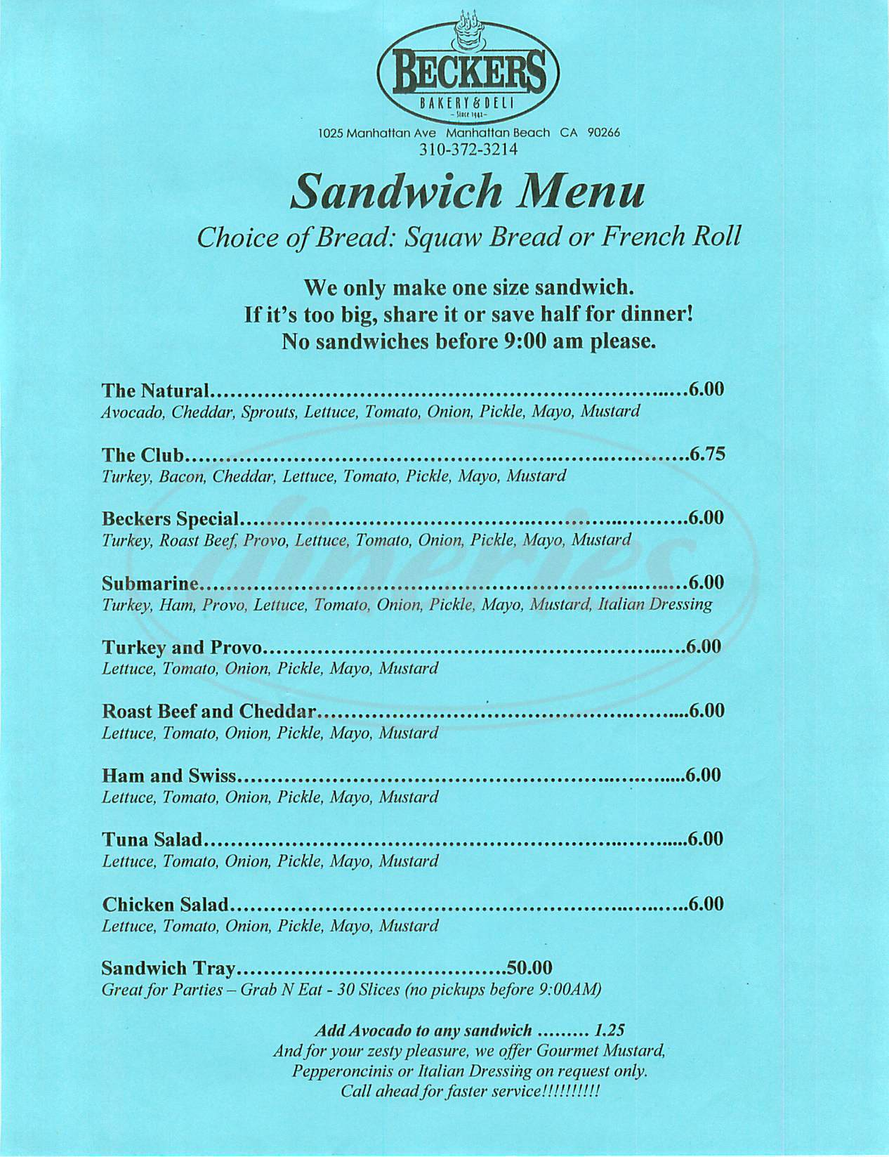 menu for Beckers Bakery & Deli