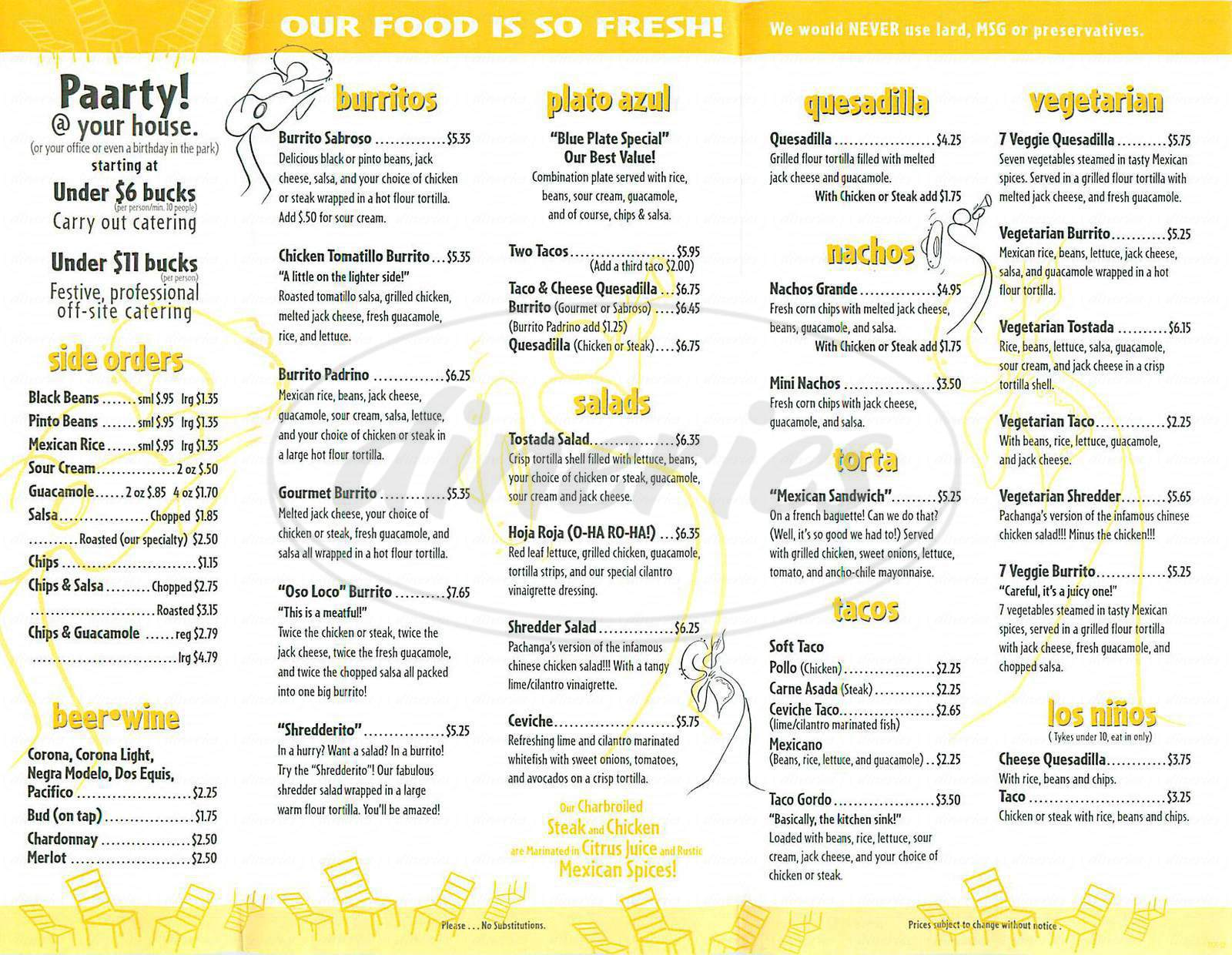menu for Pachanga Mexican Grill