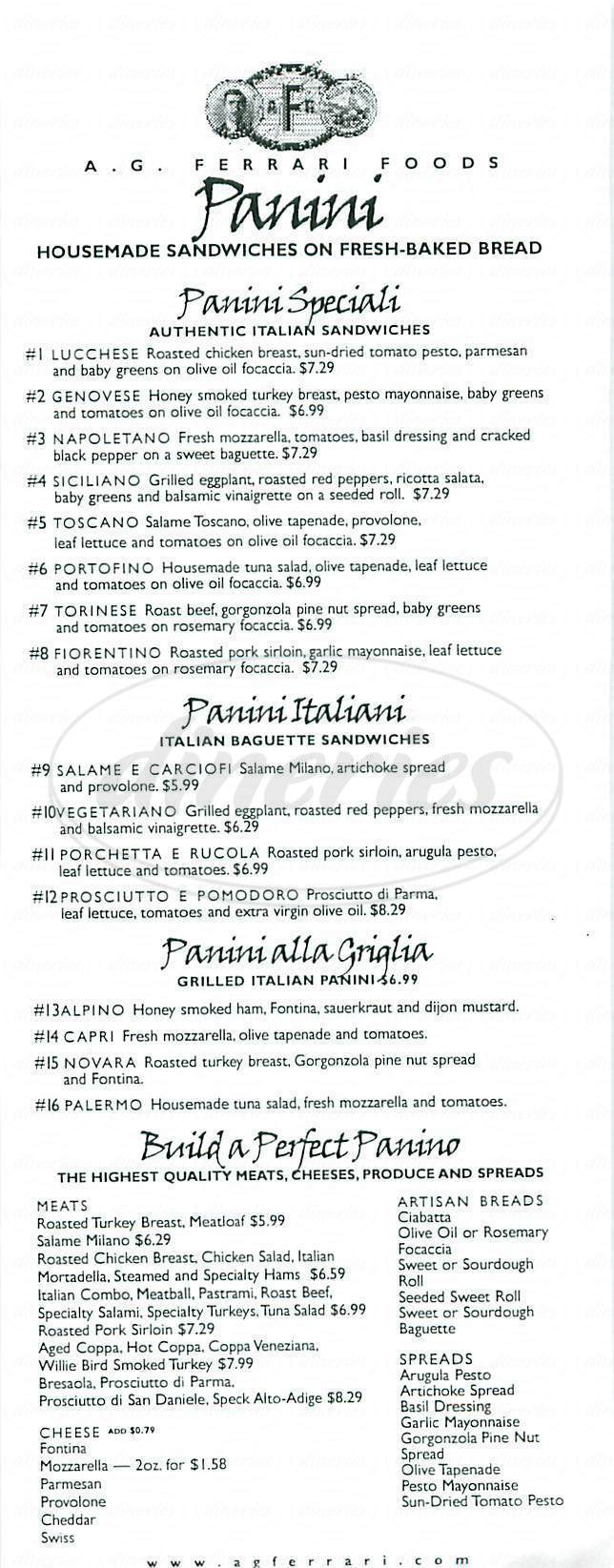 menu for A.G. Ferrari Foods