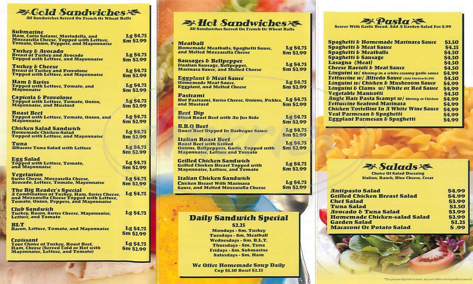 menu for The Deli News