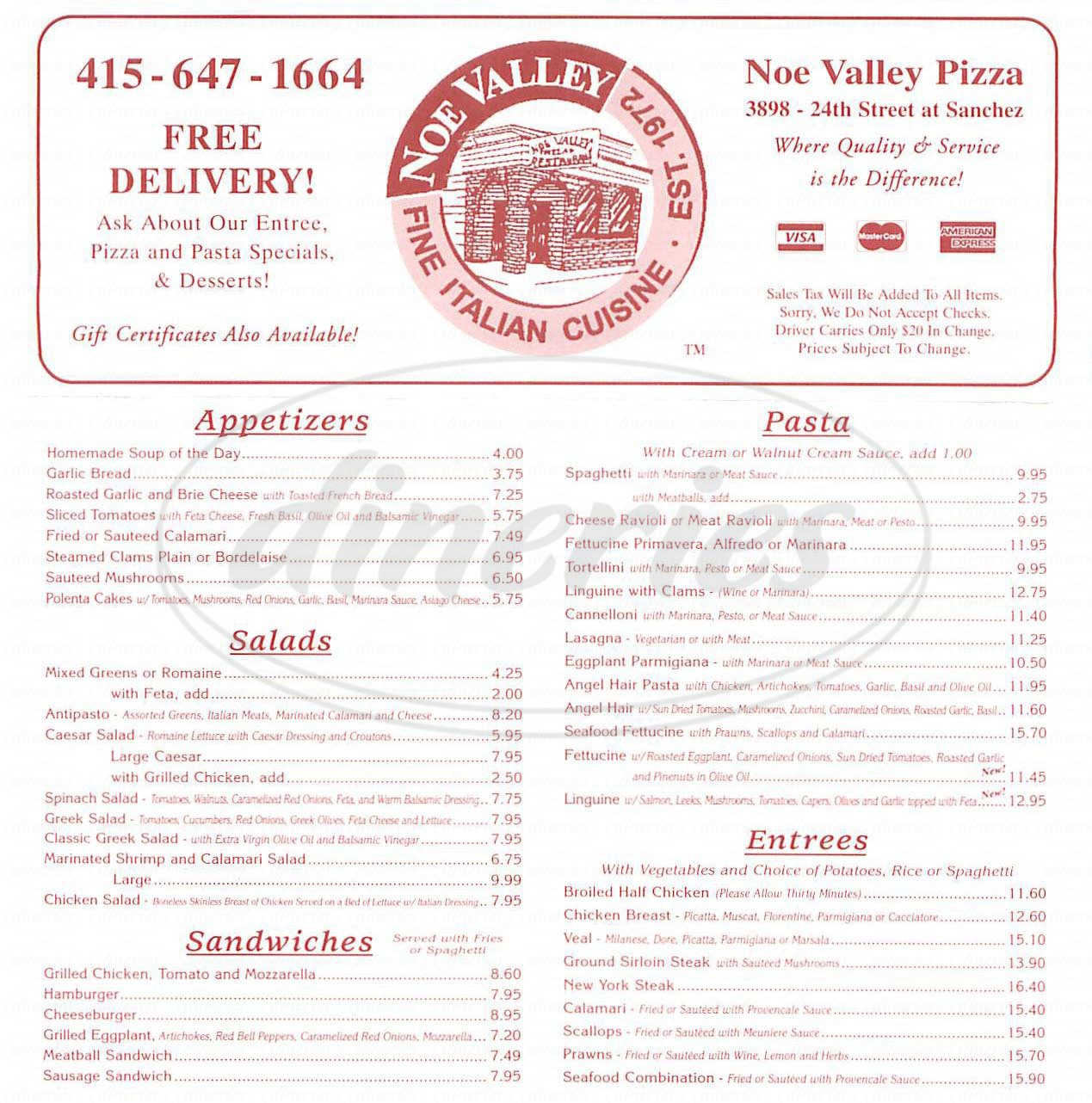 menu for Noe Valley Pizza