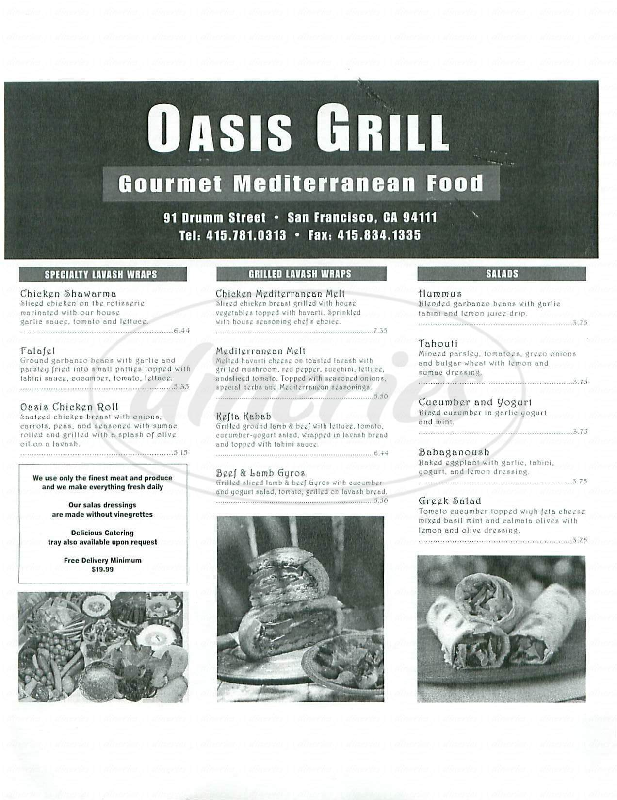menu for Oasis Grill