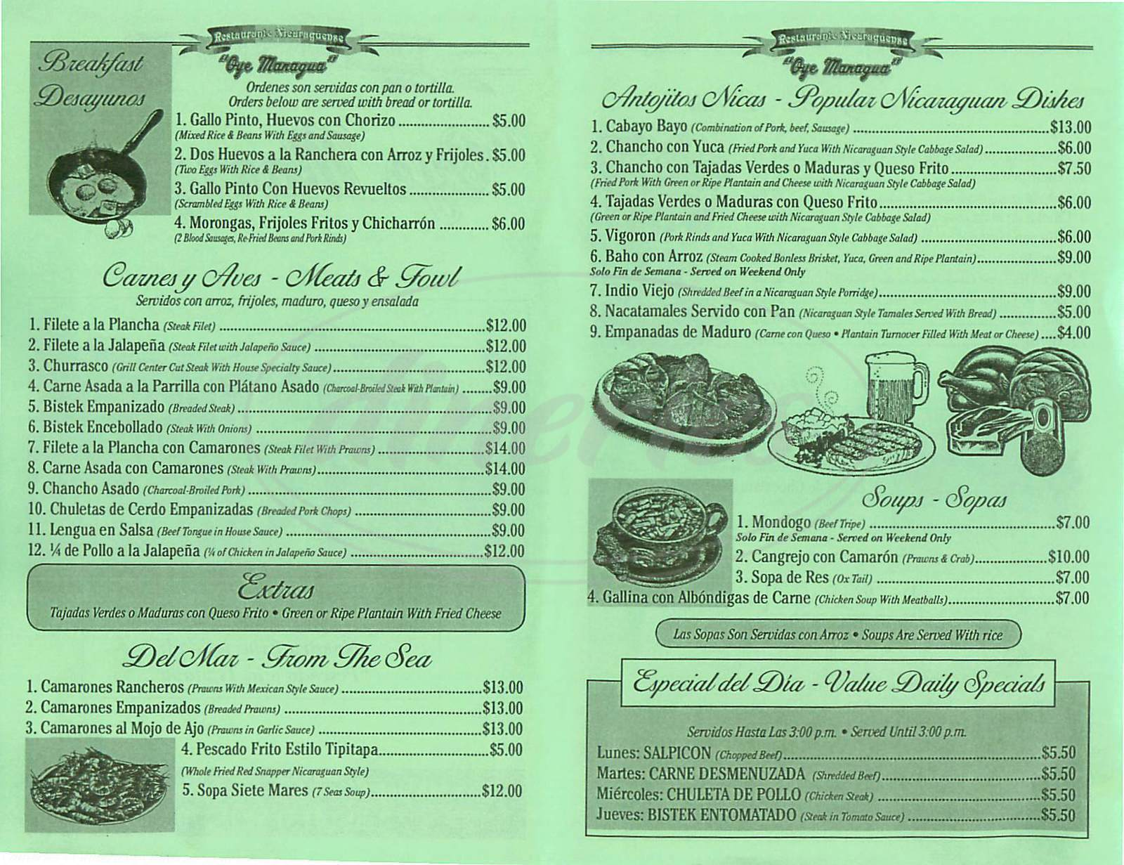 menu for Oye Managua