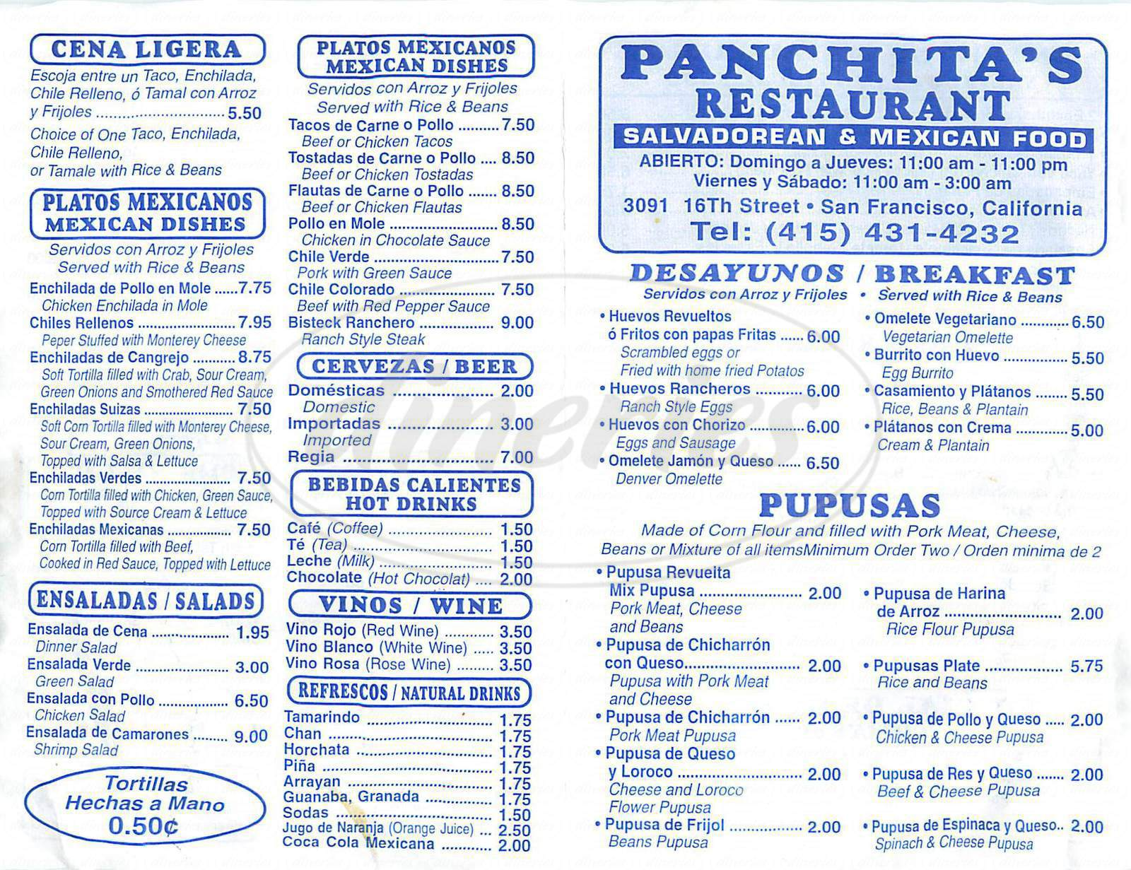 menu for Panchita's