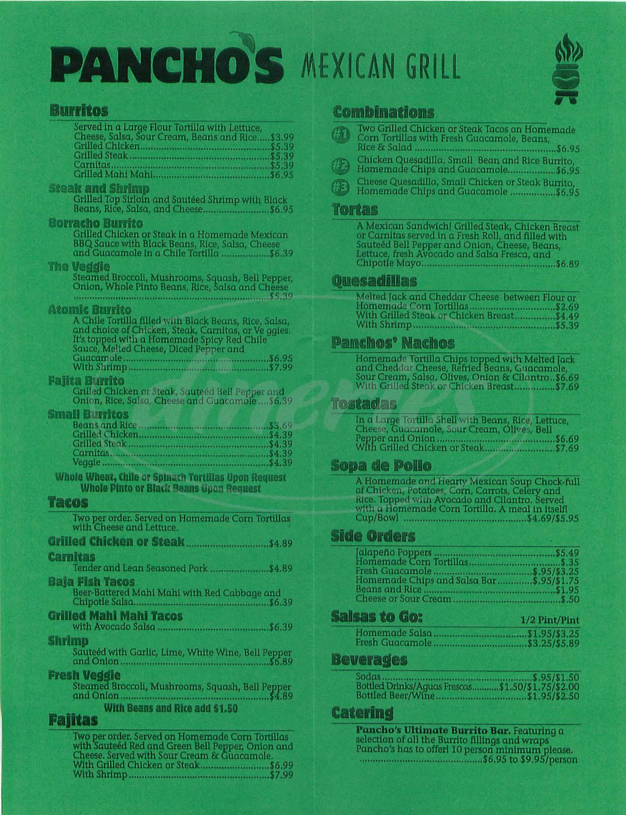 menu for Pancho's Salsa Bar & Grill