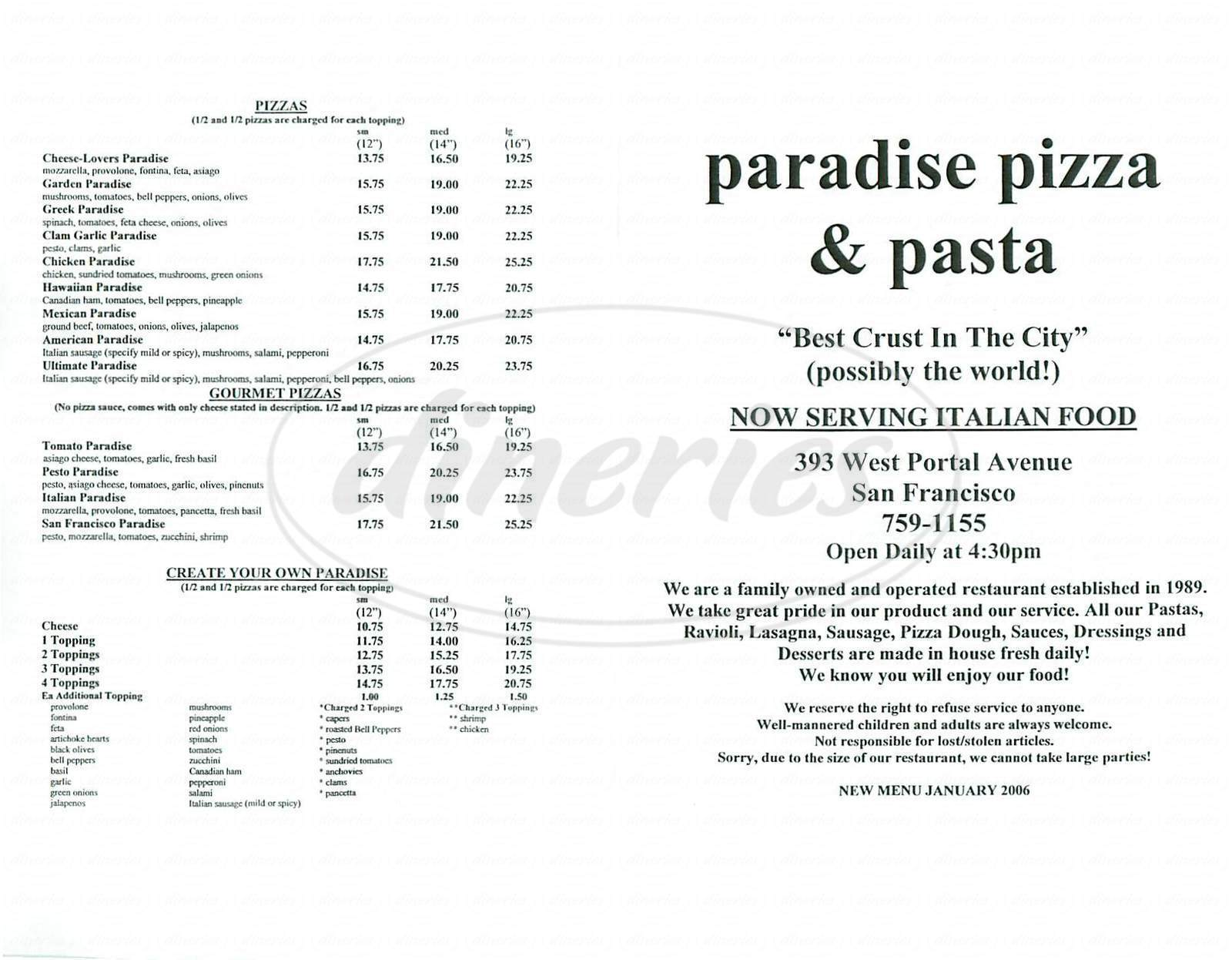 menu for Paradise Pizza
