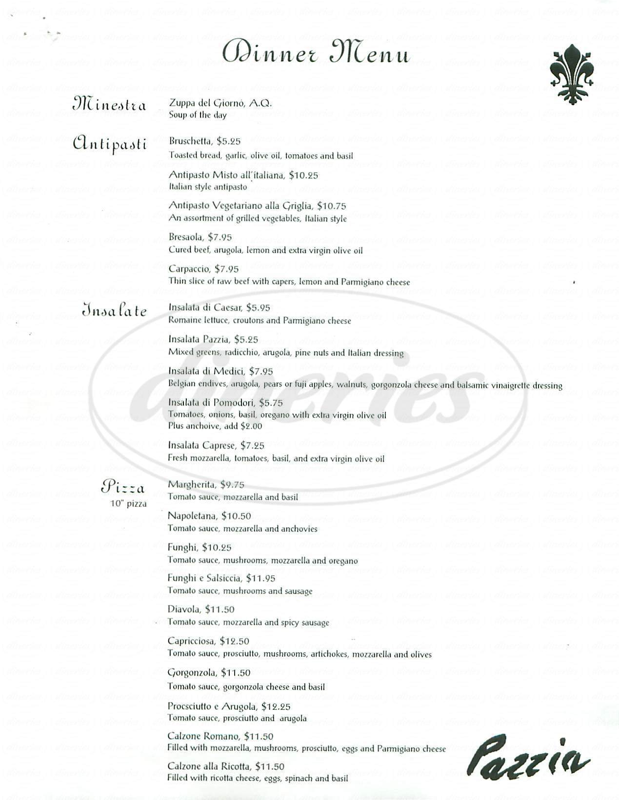 menu for Pazzia Restaurant & Pizzeria