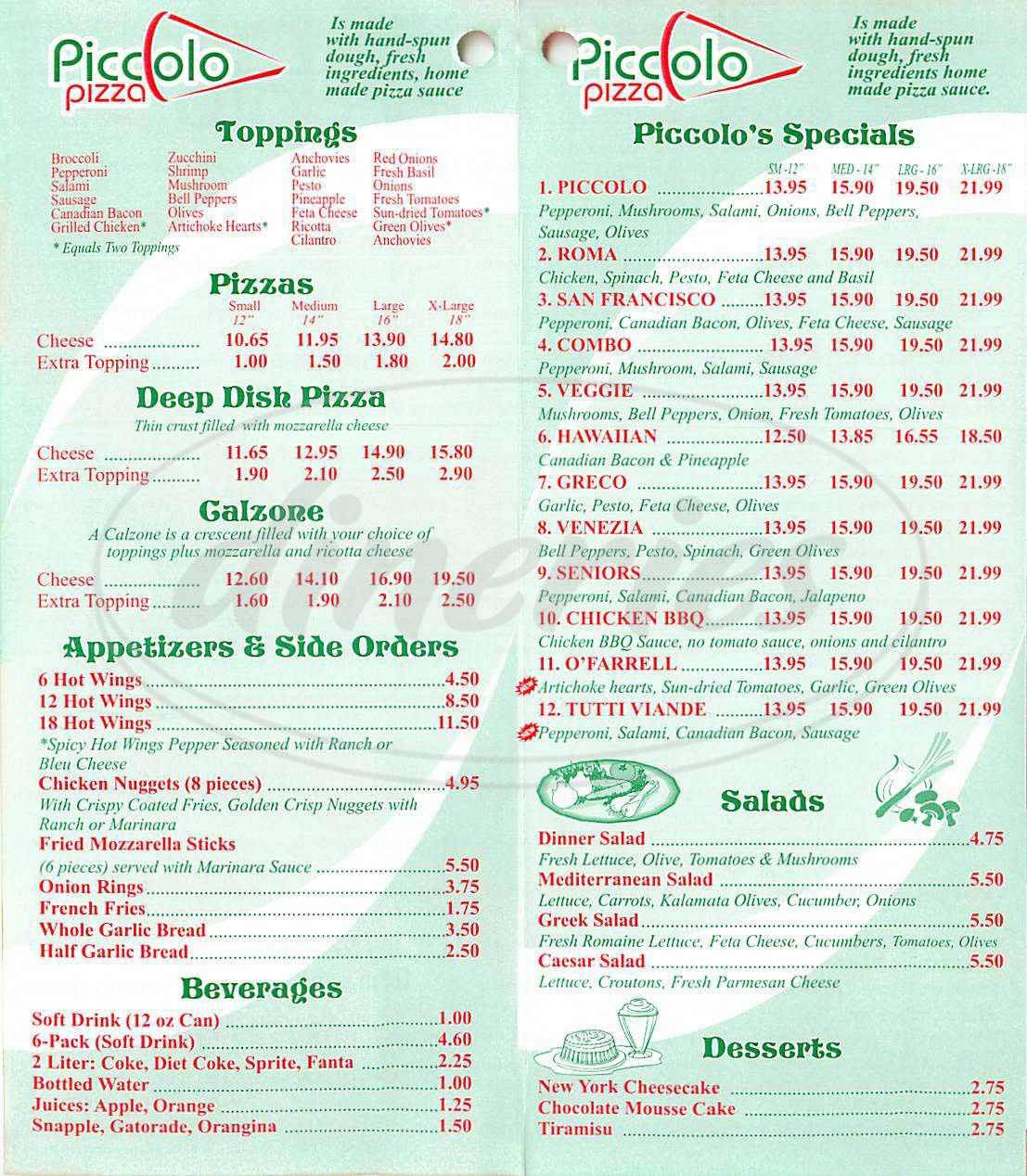 menu for Piccolo Pizza