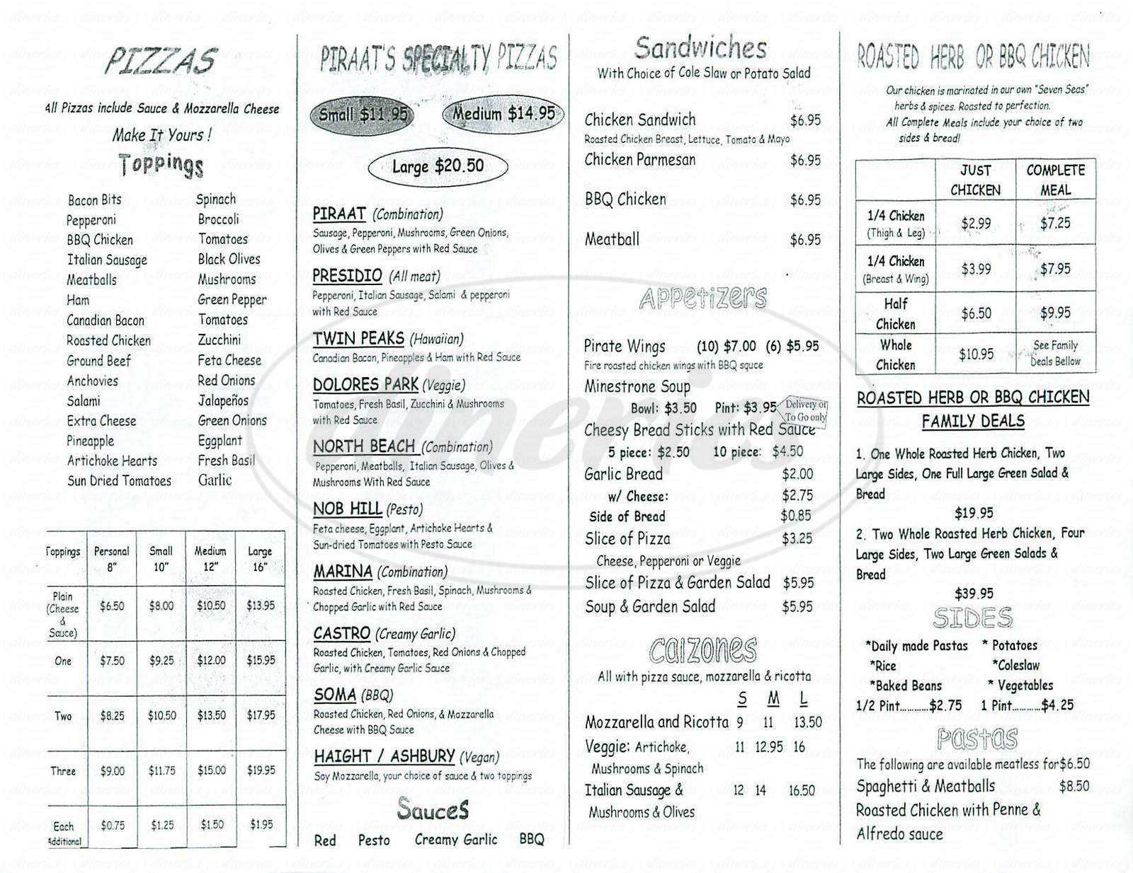 menu for Piraat Pizzeria & Rotisserie
