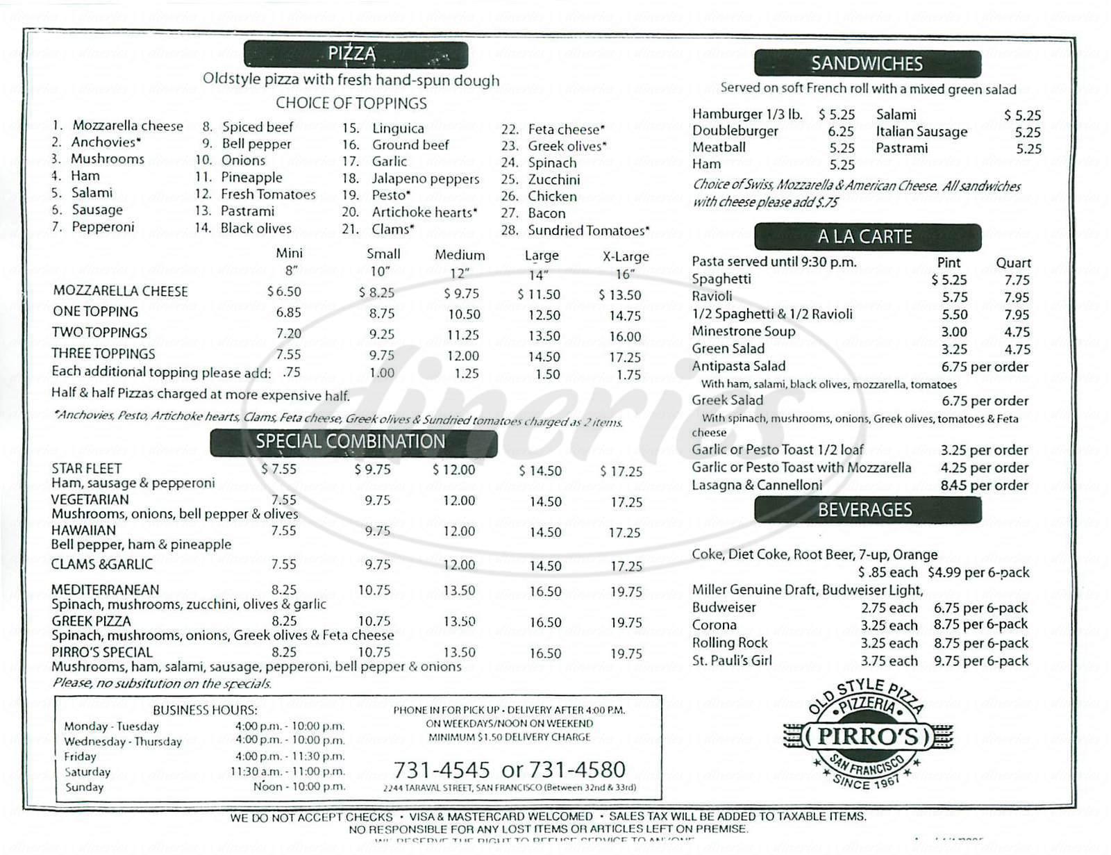 menu for Pirro's Pizzeria