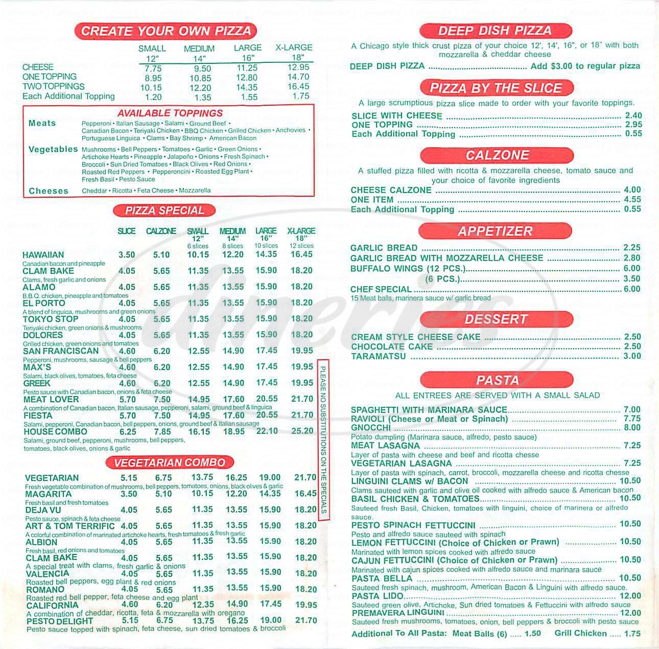 menu for Deja Vu Pizza and Pasta