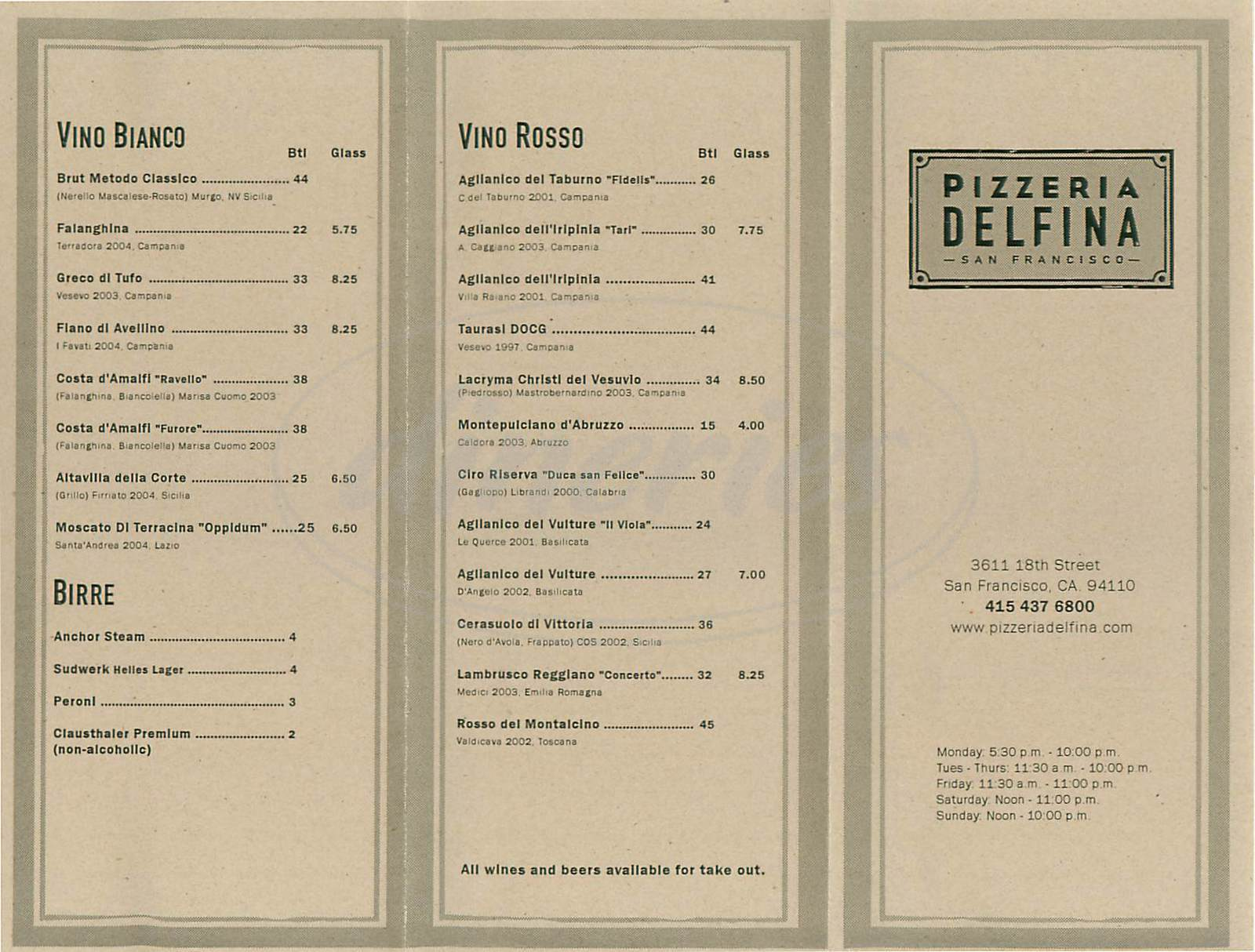 menu for Pizzeria Delfina