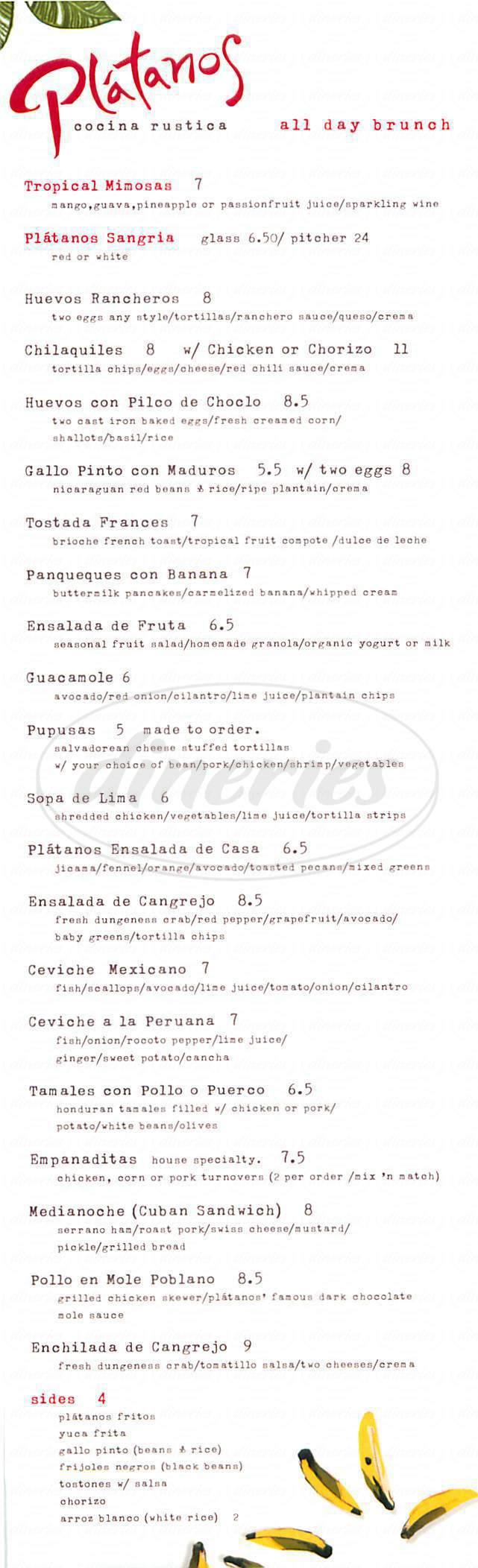 menu for Platanos