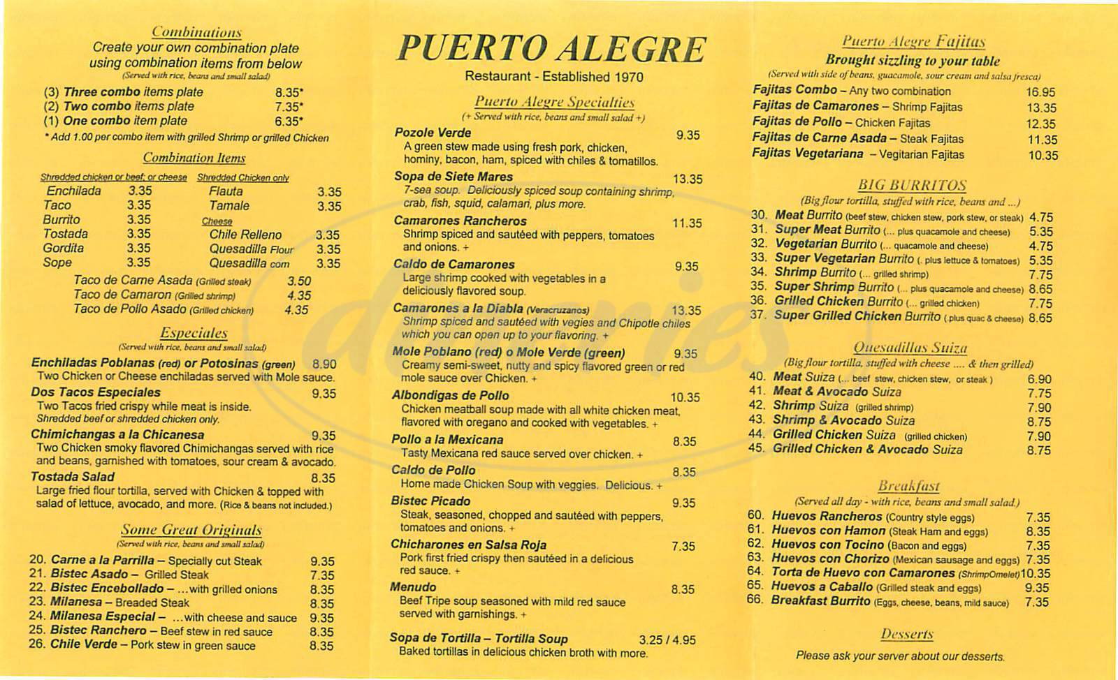 menu for Puerto Alegre