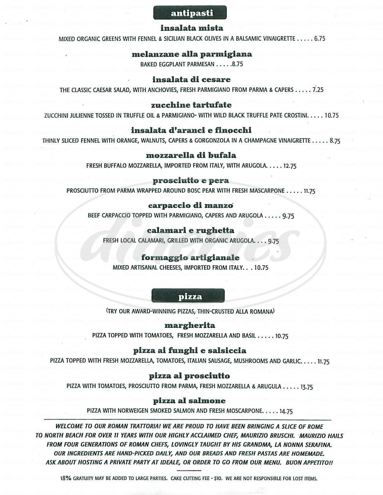 menu for Ideale