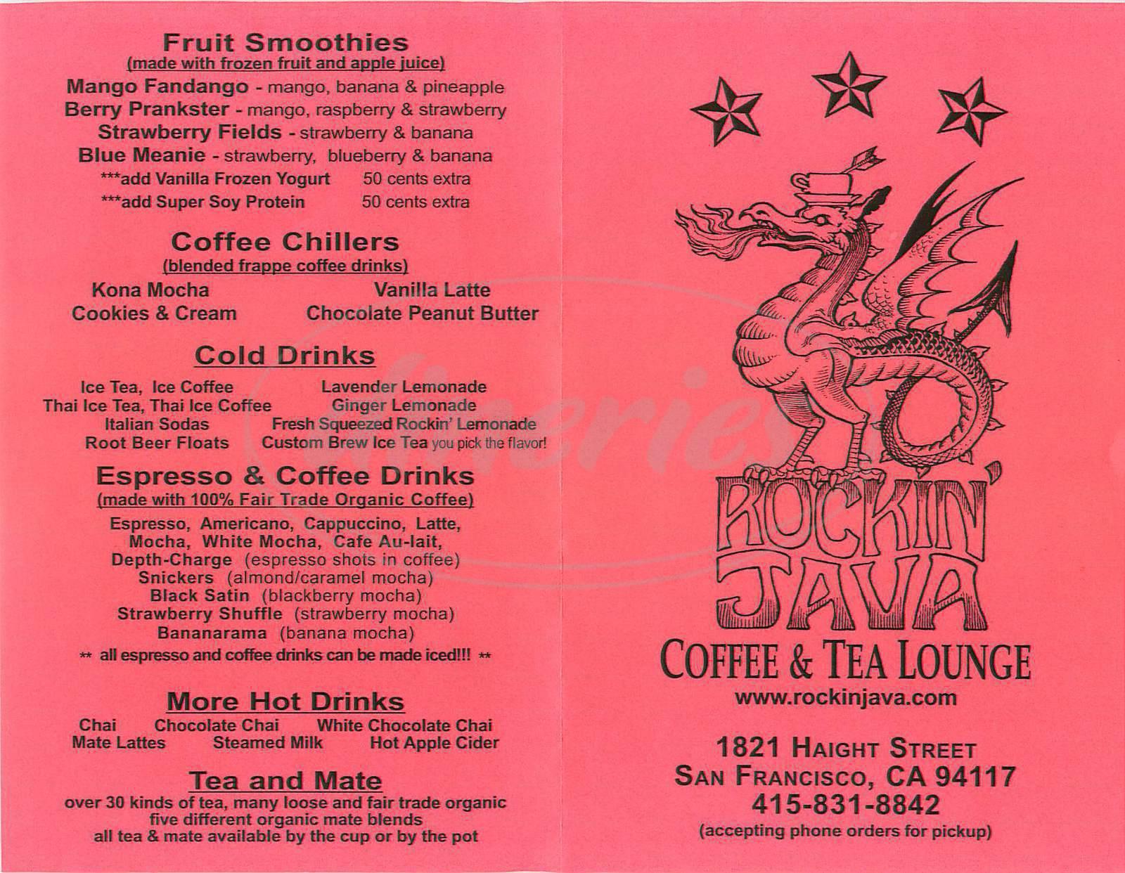 menu for Rockin Java Coffee & Tea House