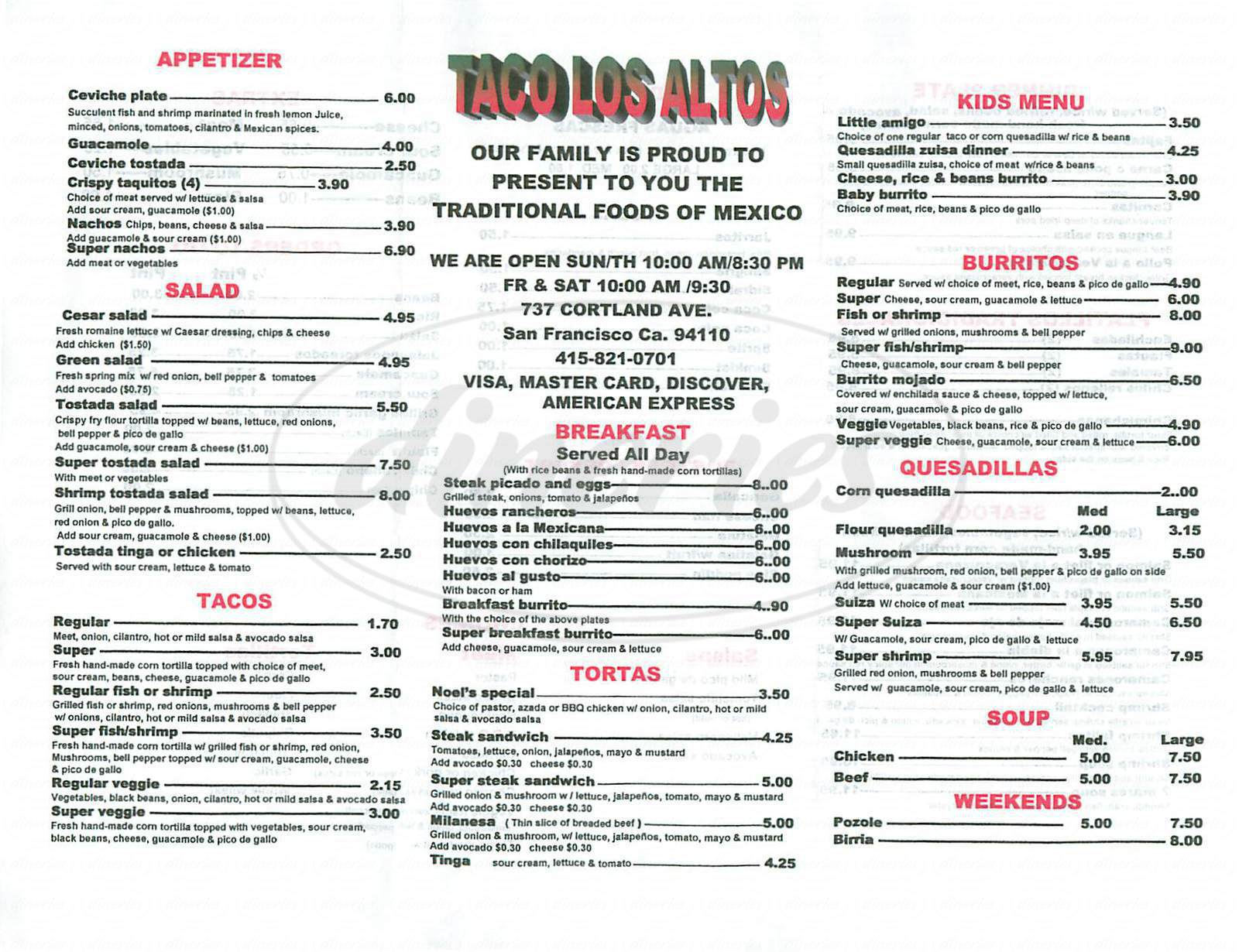 menu for Taco Los Altos