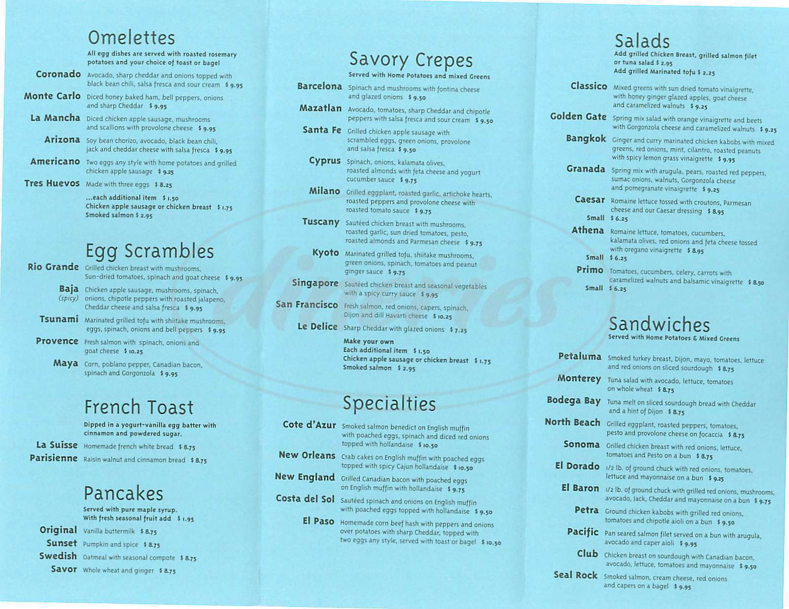 menu for Savor