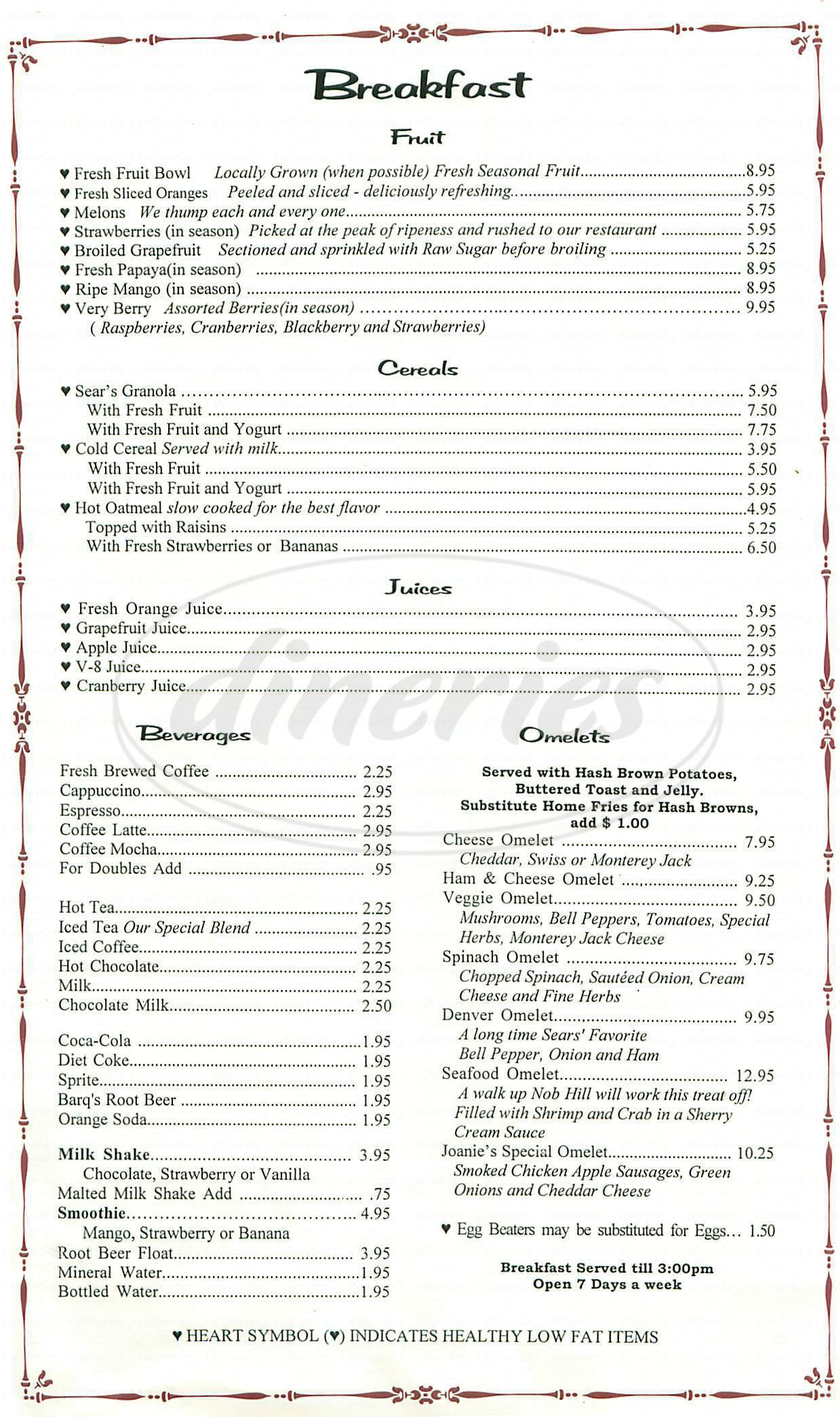 menu for Sears Fine Food