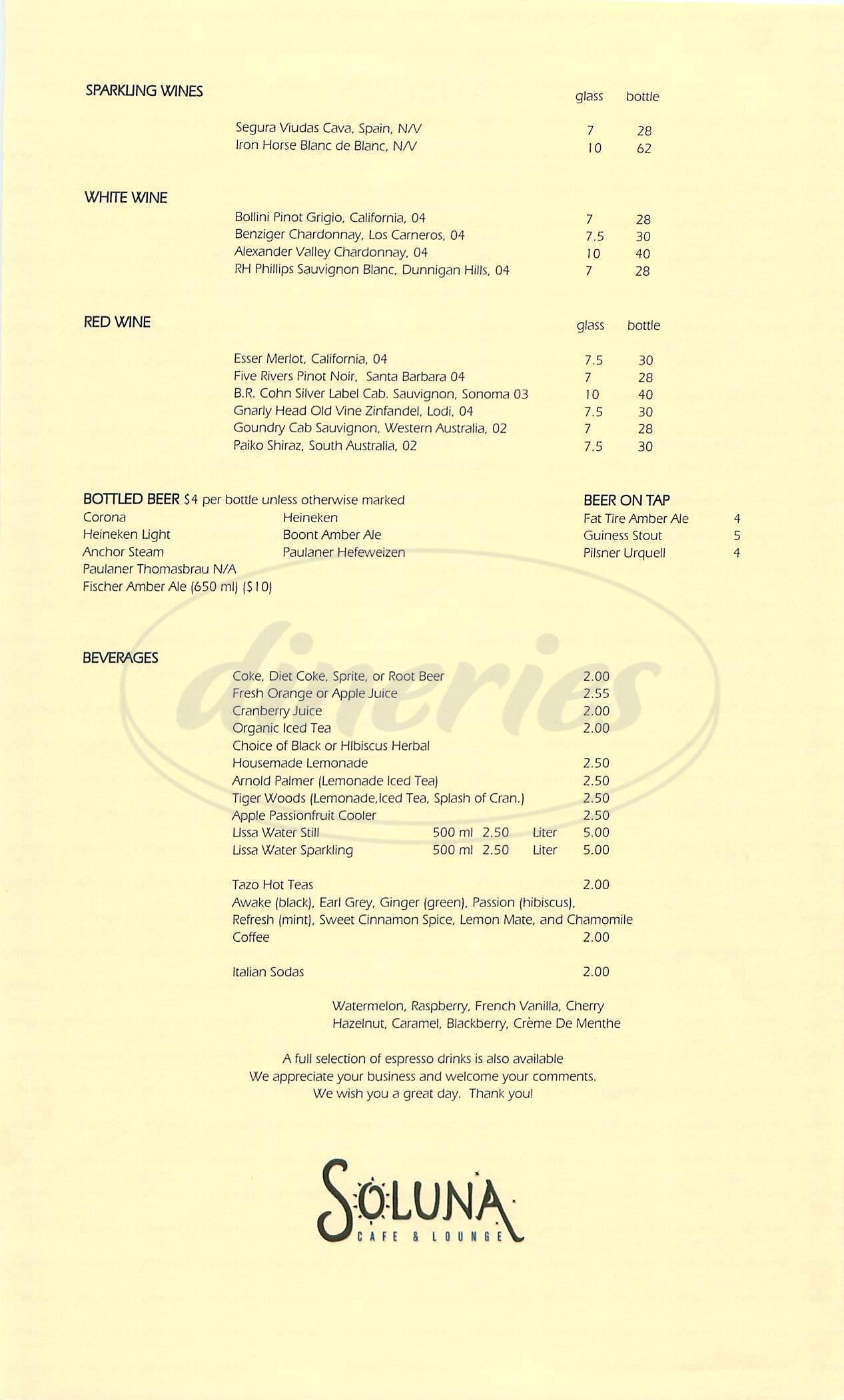 menu for Soluna Café & Lounge