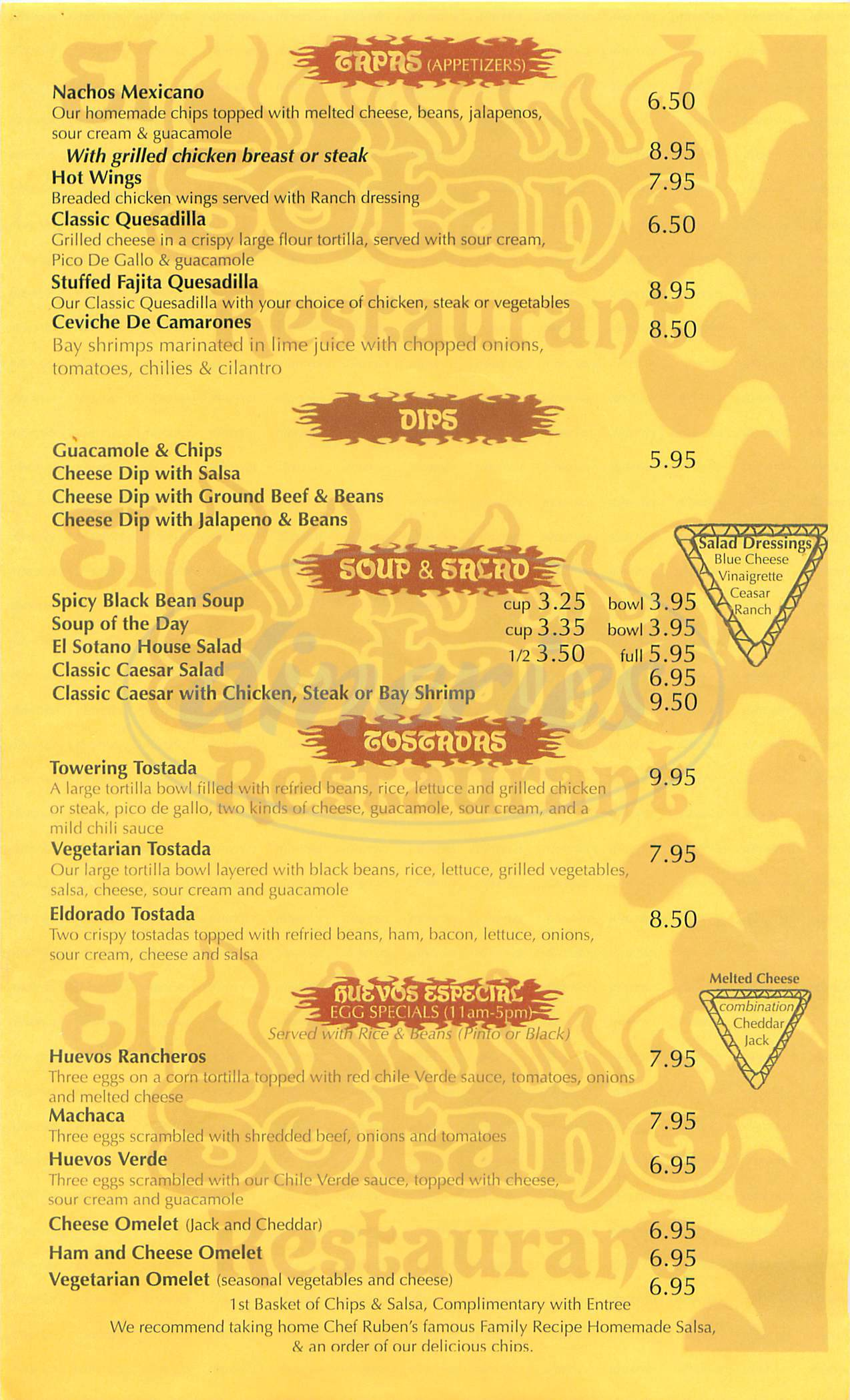 menu for Sotano Grill