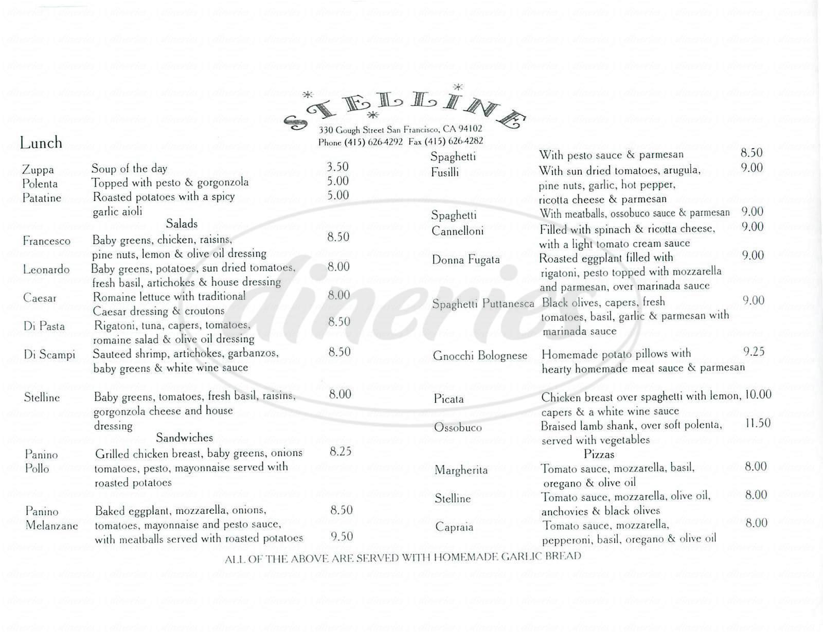 menu for Stelline