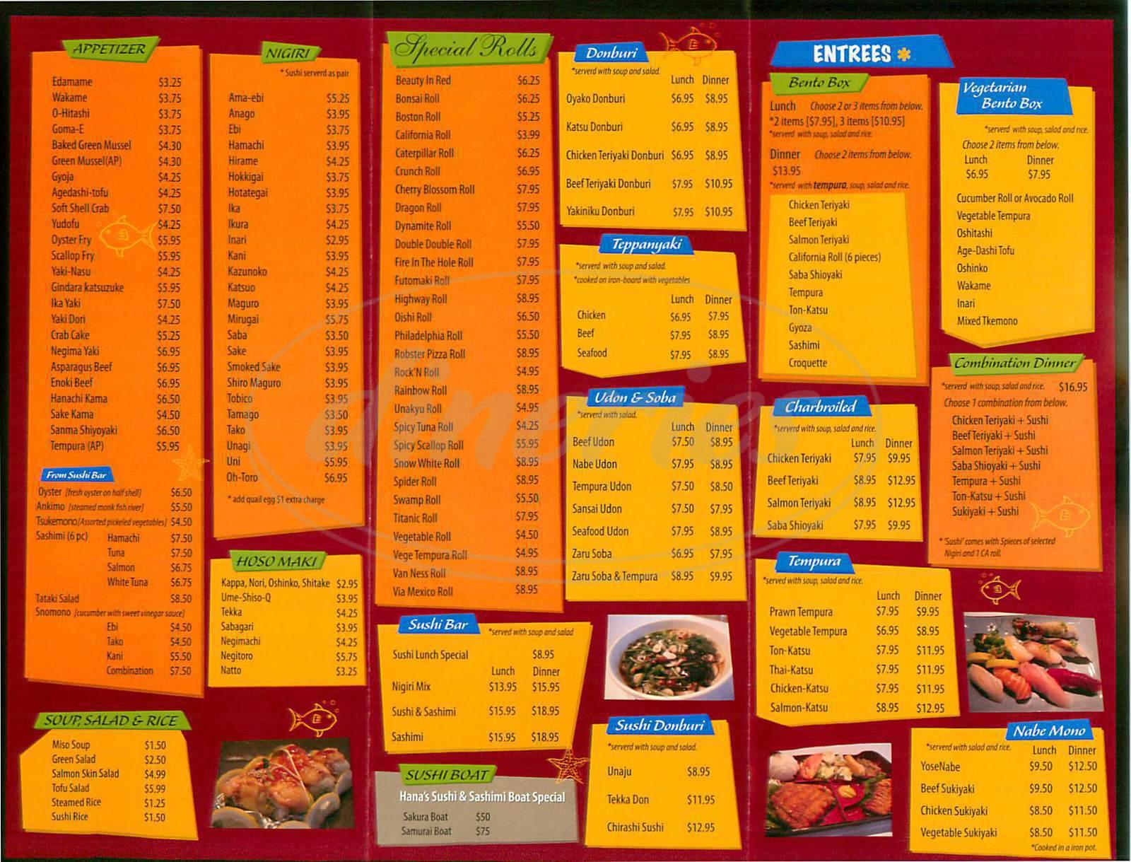 menu for Sushi Hana