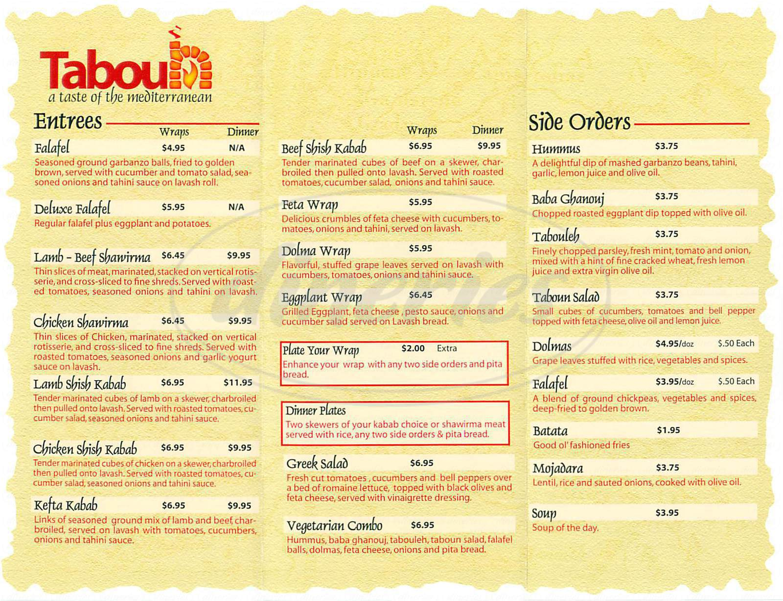 menu for Taboun