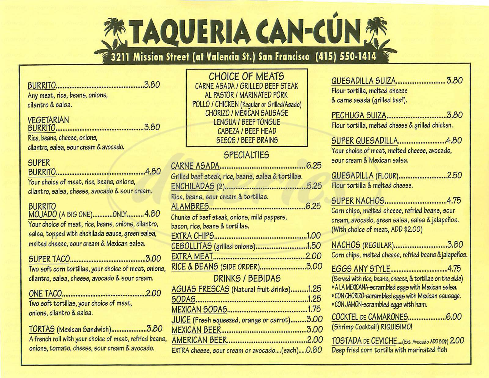 menu for Taqueria Cancun