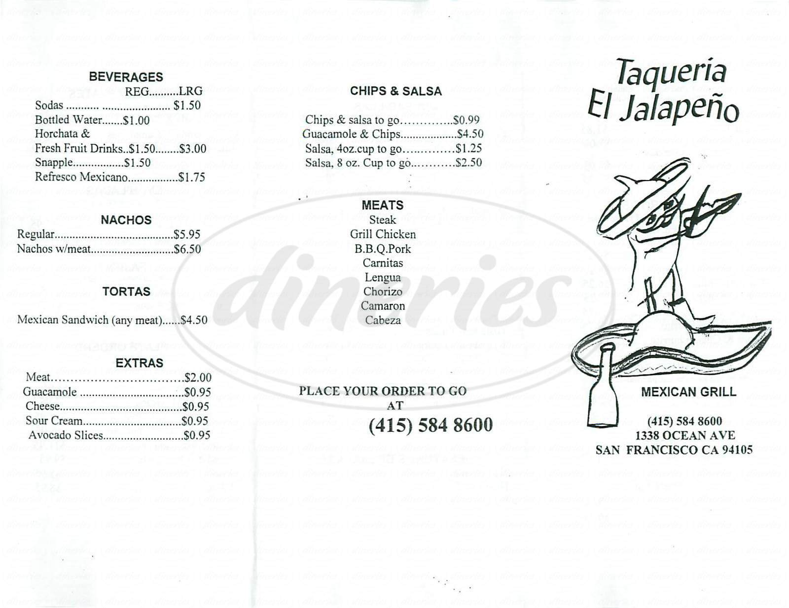 menu for Taqueria El Jalapeno