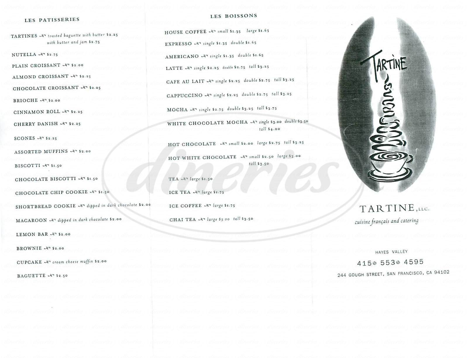 menu for Tartine Café Francais