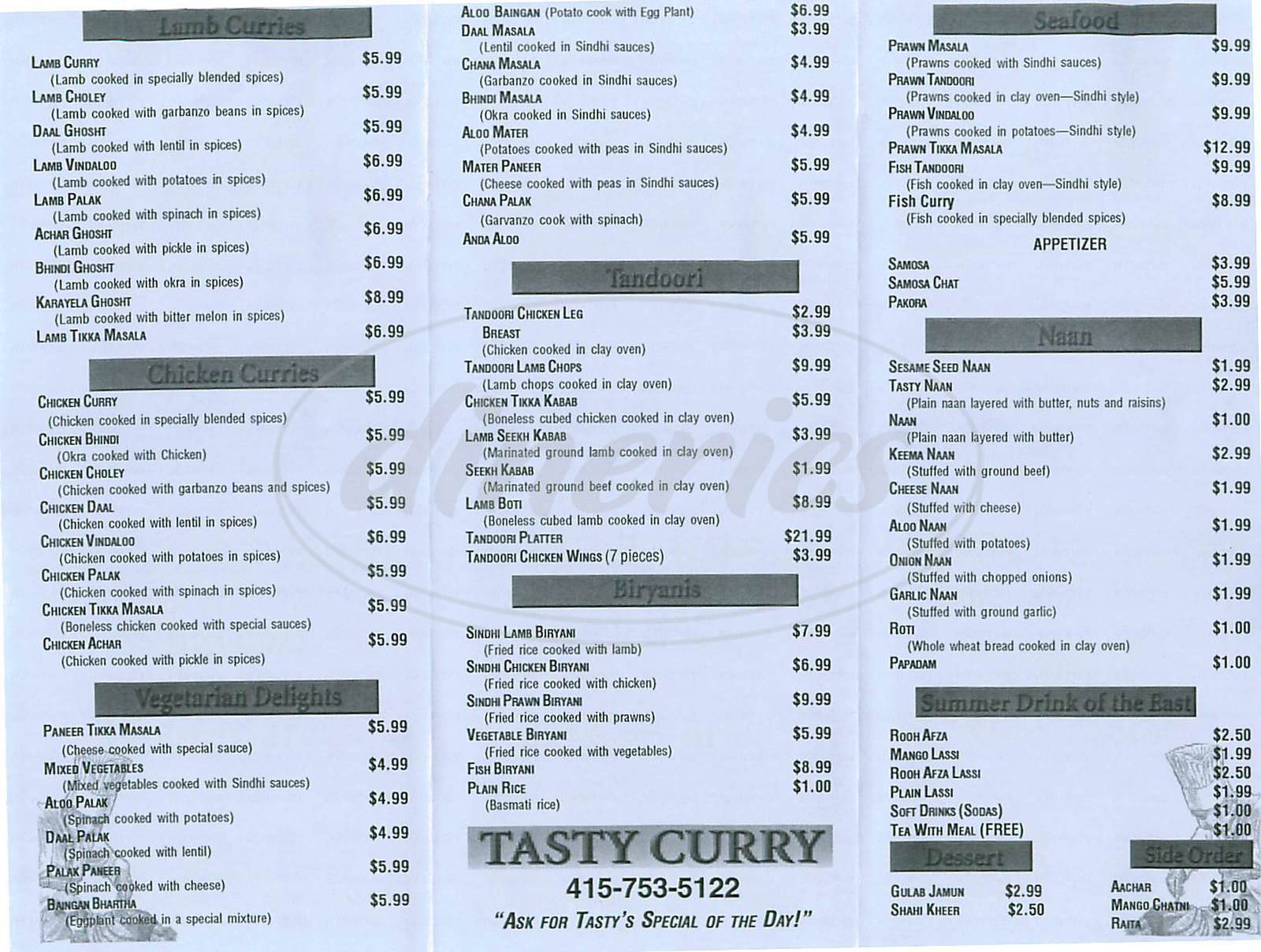 menu for Tasty Curry