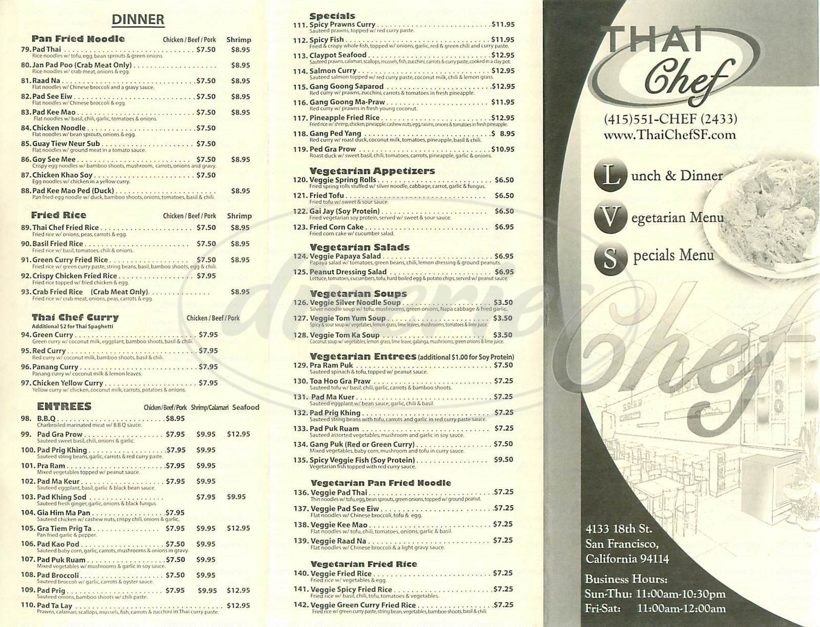 menu for Thai Chef