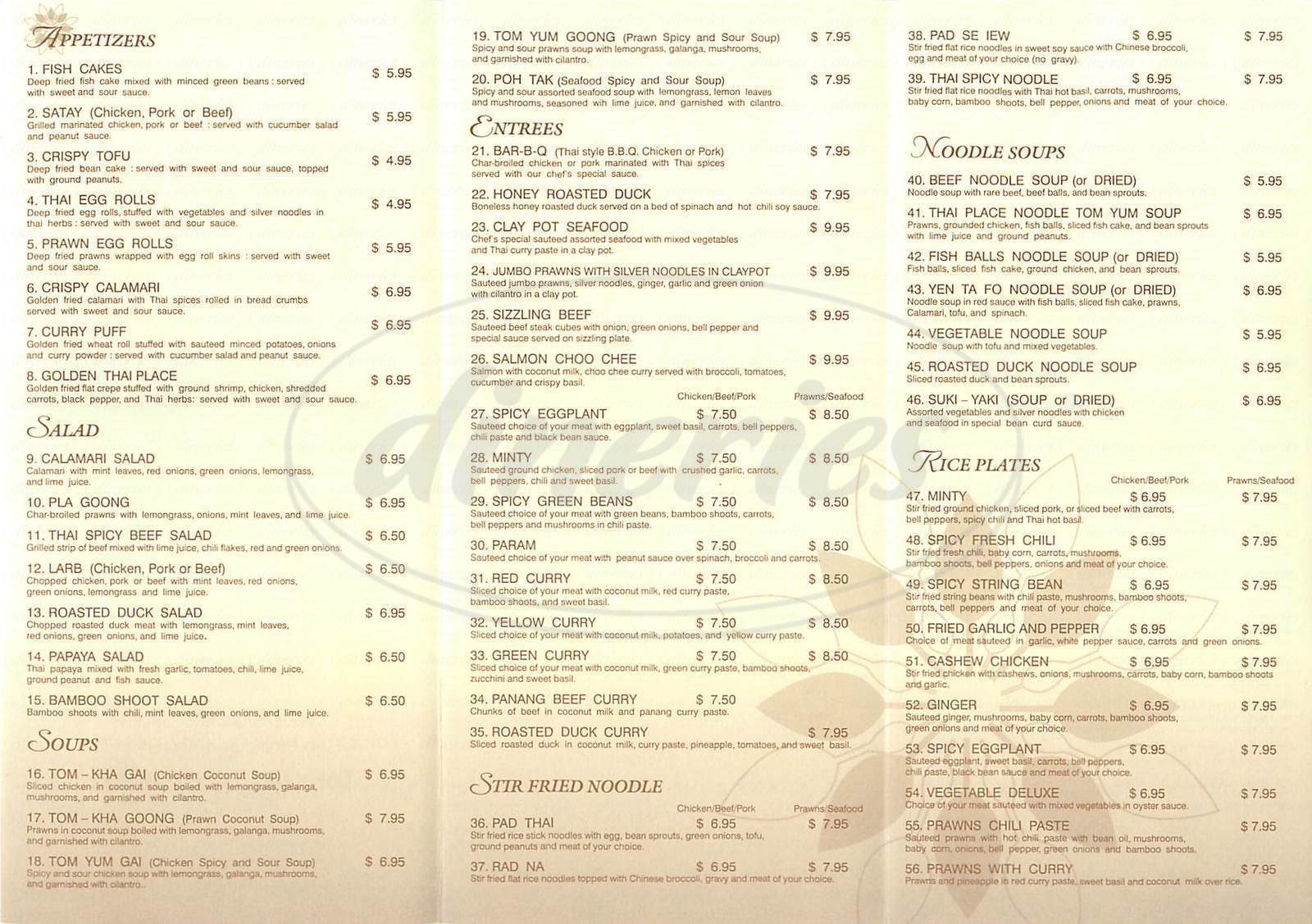 menu for Thai Place II
