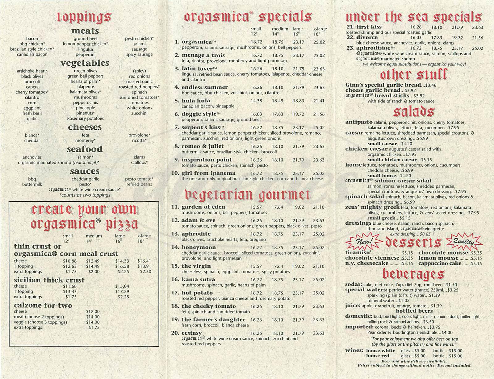 menu for Pizza Orgasmica
